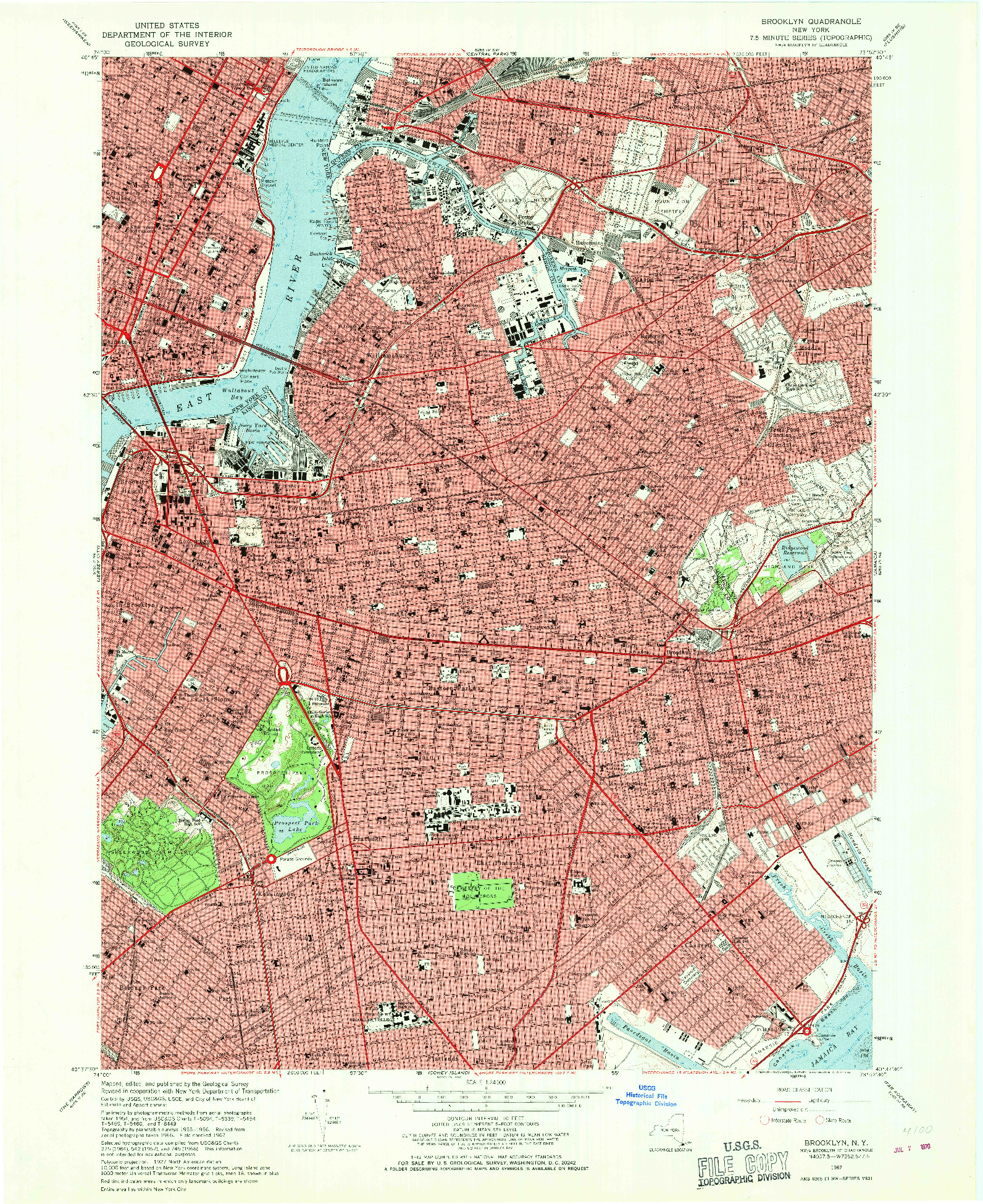 USGS 1:24000-SCALE QUADRANGLE FOR BROOKLYN, NY 1967