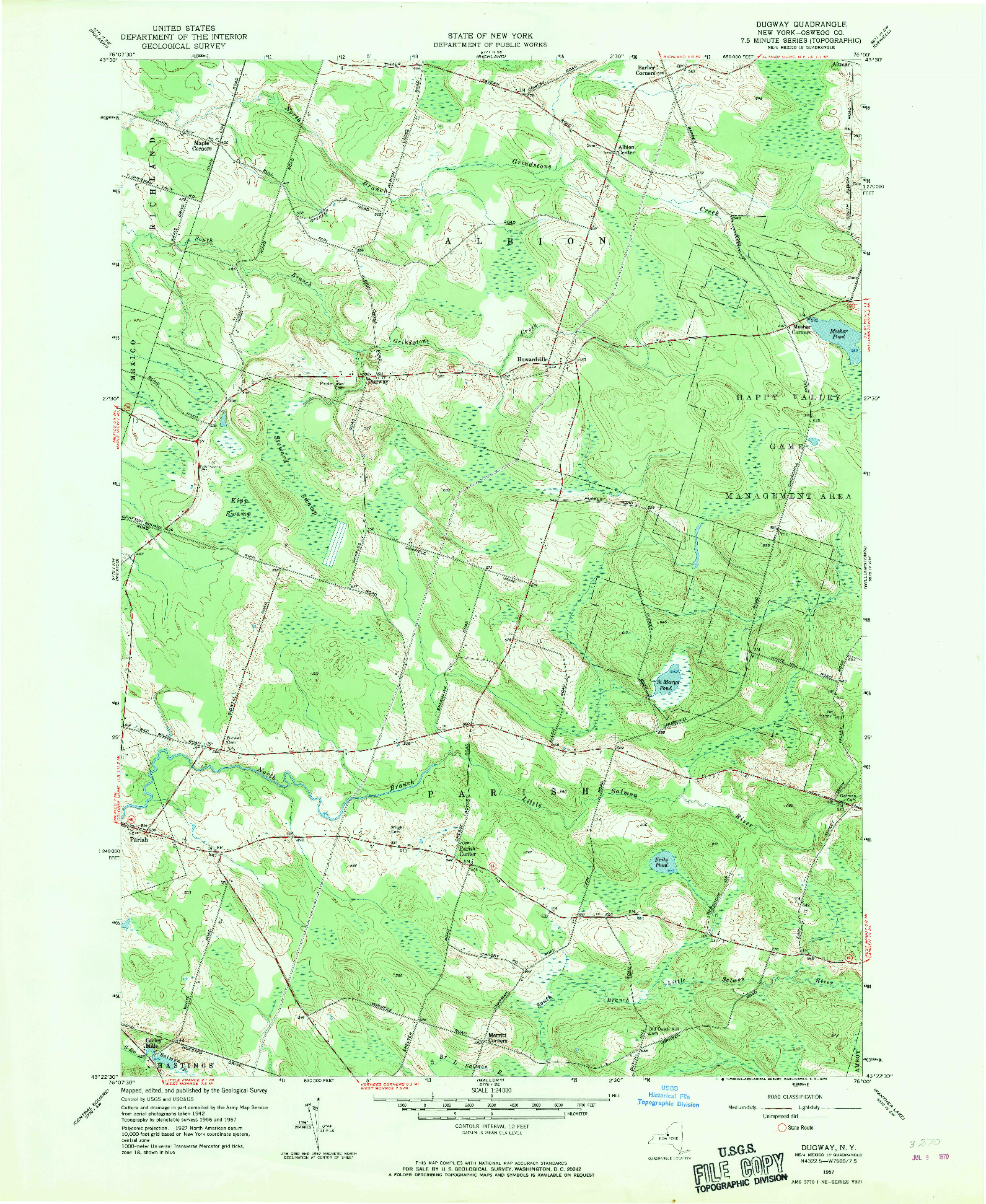 USGS 1:24000-SCALE QUADRANGLE FOR DUGWAY, NY 1957