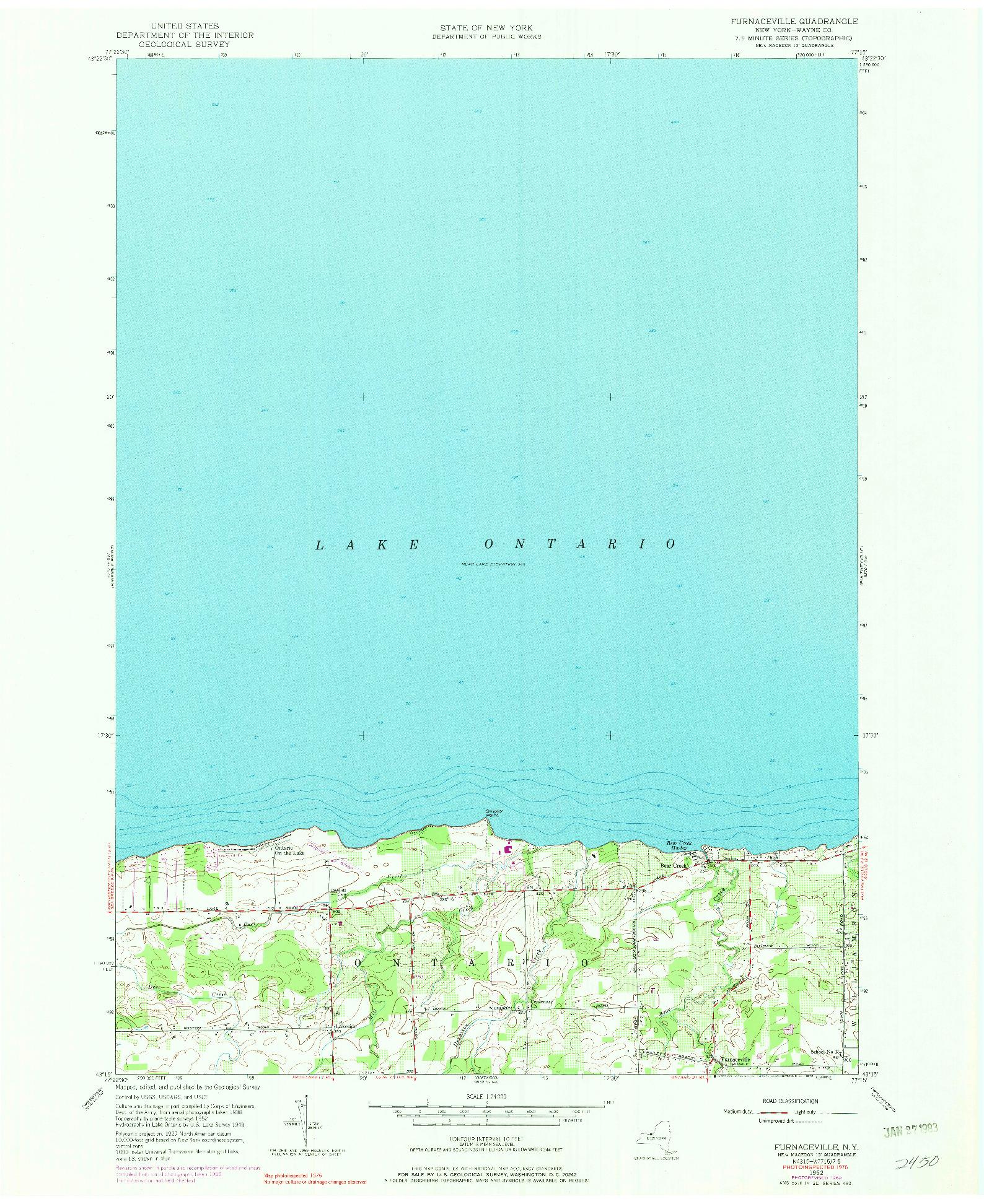 USGS 1:24000-SCALE QUADRANGLE FOR FURNACEVILLE, NY 1952