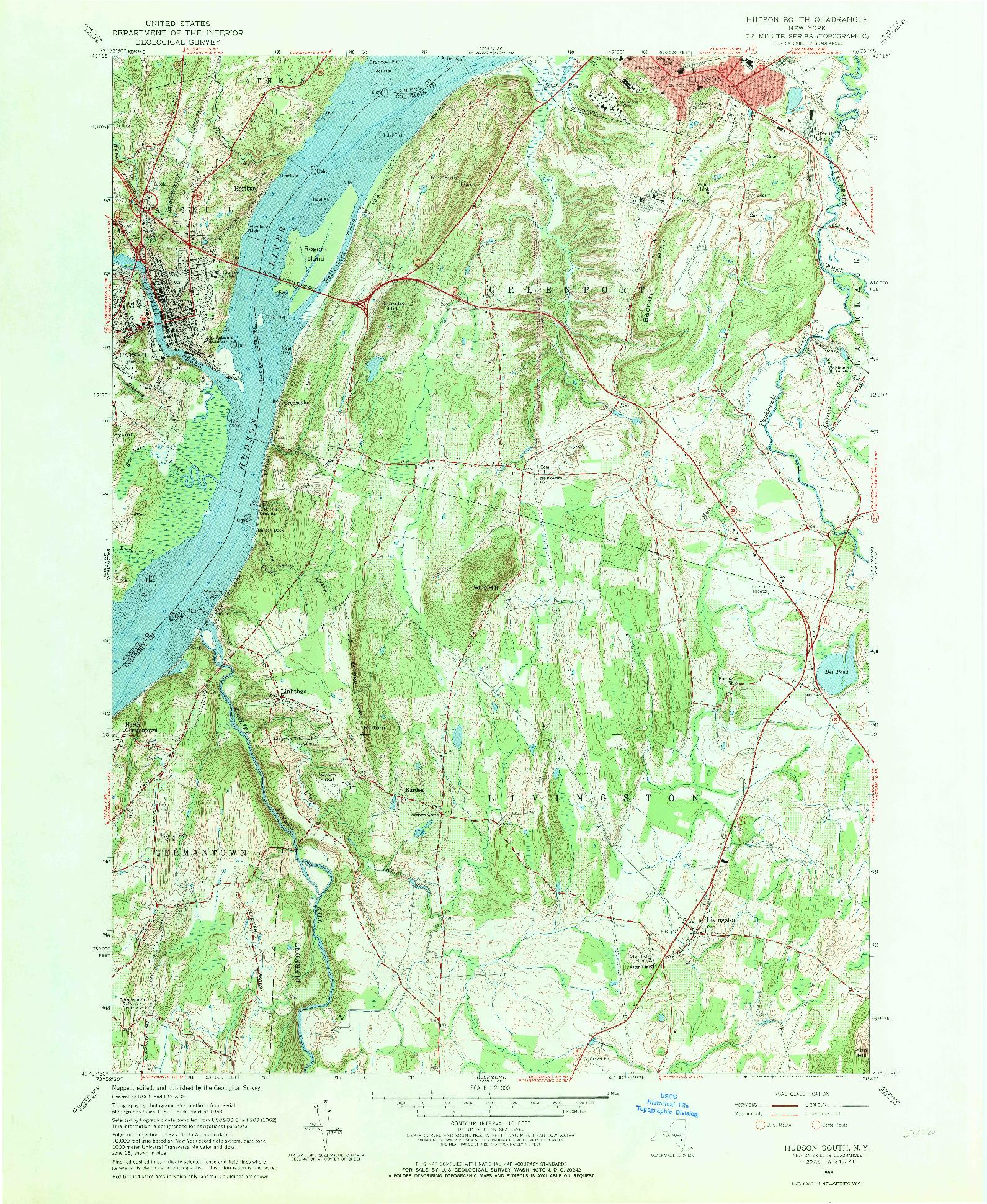 USGS 1:24000-SCALE QUADRANGLE FOR HUDSON SOUTH, NY 1963