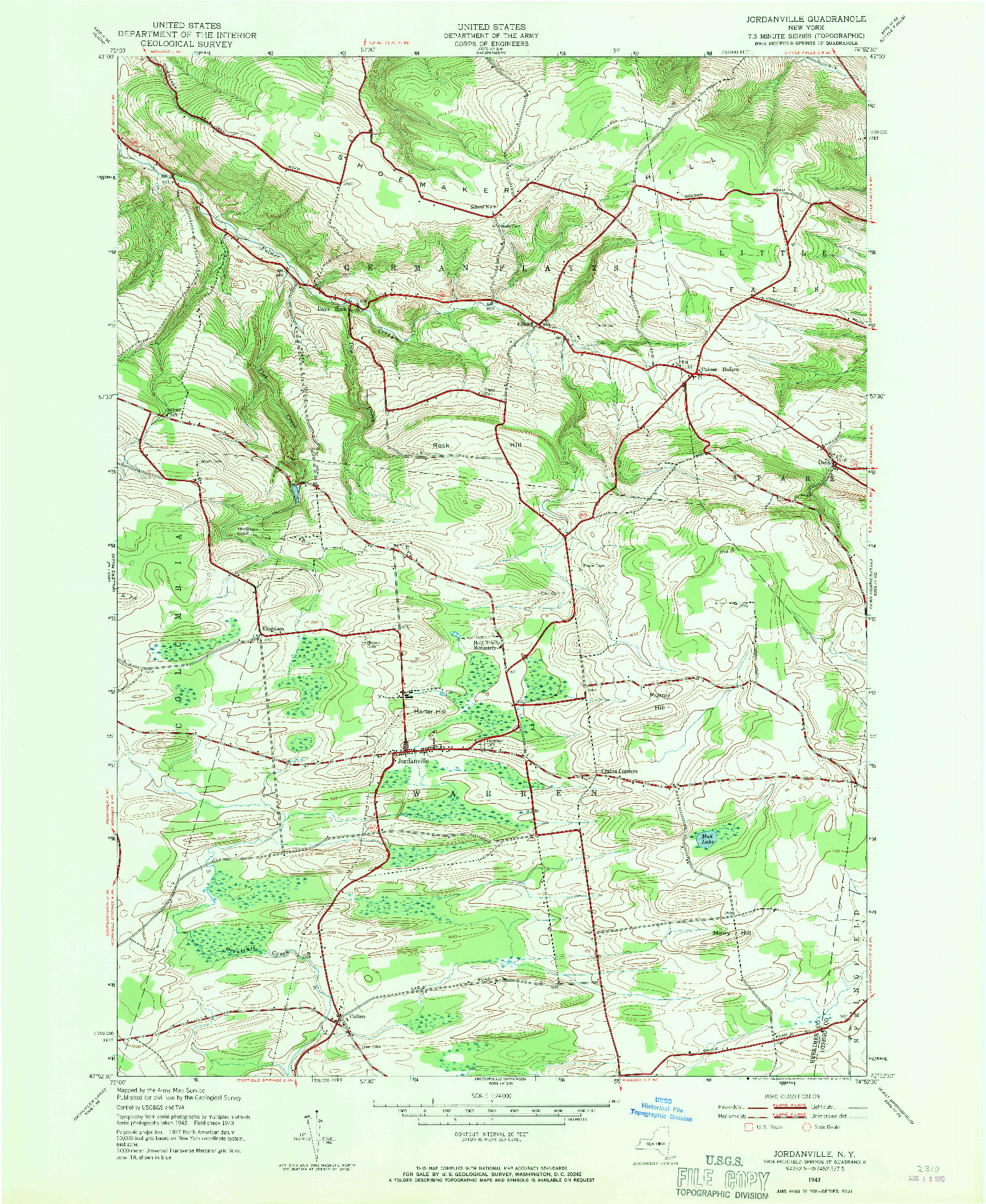 USGS 1:24000-SCALE QUADRANGLE FOR JORDANVILLE, NY 1943