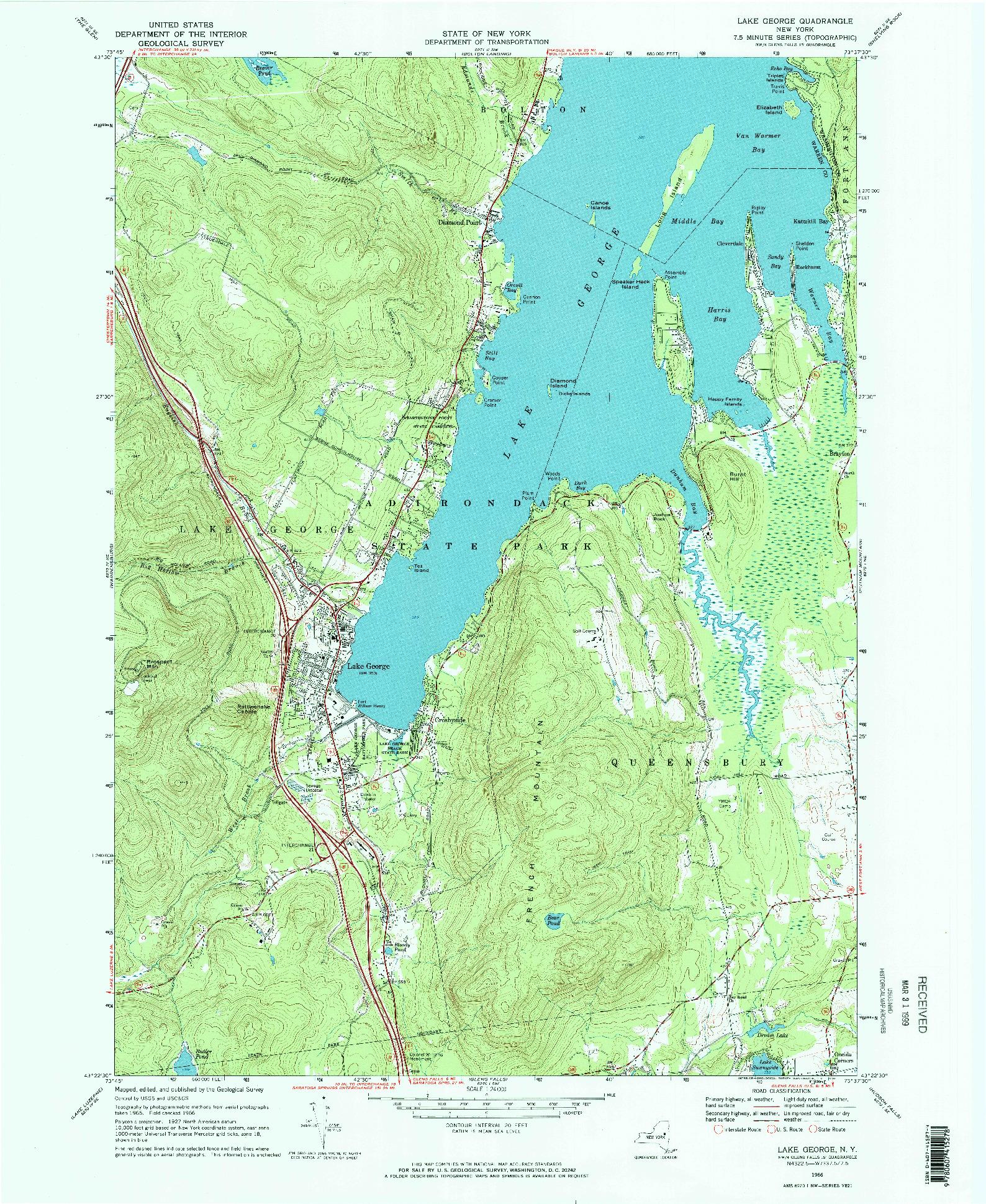 USGS 1:24000-SCALE QUADRANGLE FOR LAKE GEORGE, NY 1966