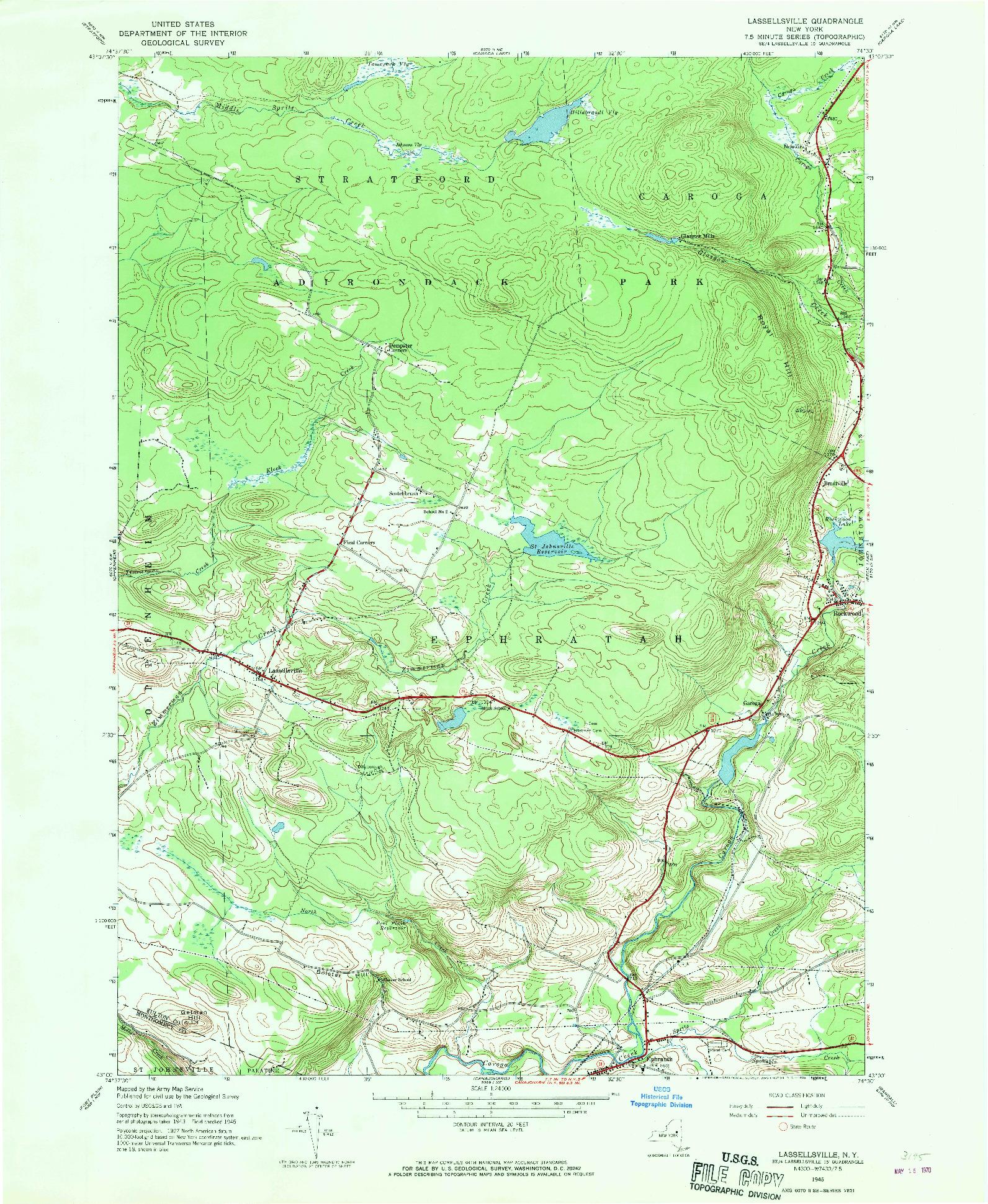 USGS 1:24000-SCALE QUADRANGLE FOR LASSELLSVILLE, NY 1945