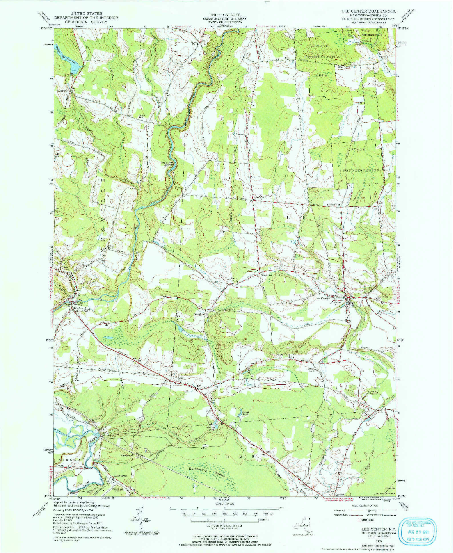 USGS 1:24000-SCALE QUADRANGLE FOR LEE CENTER, NY 1955