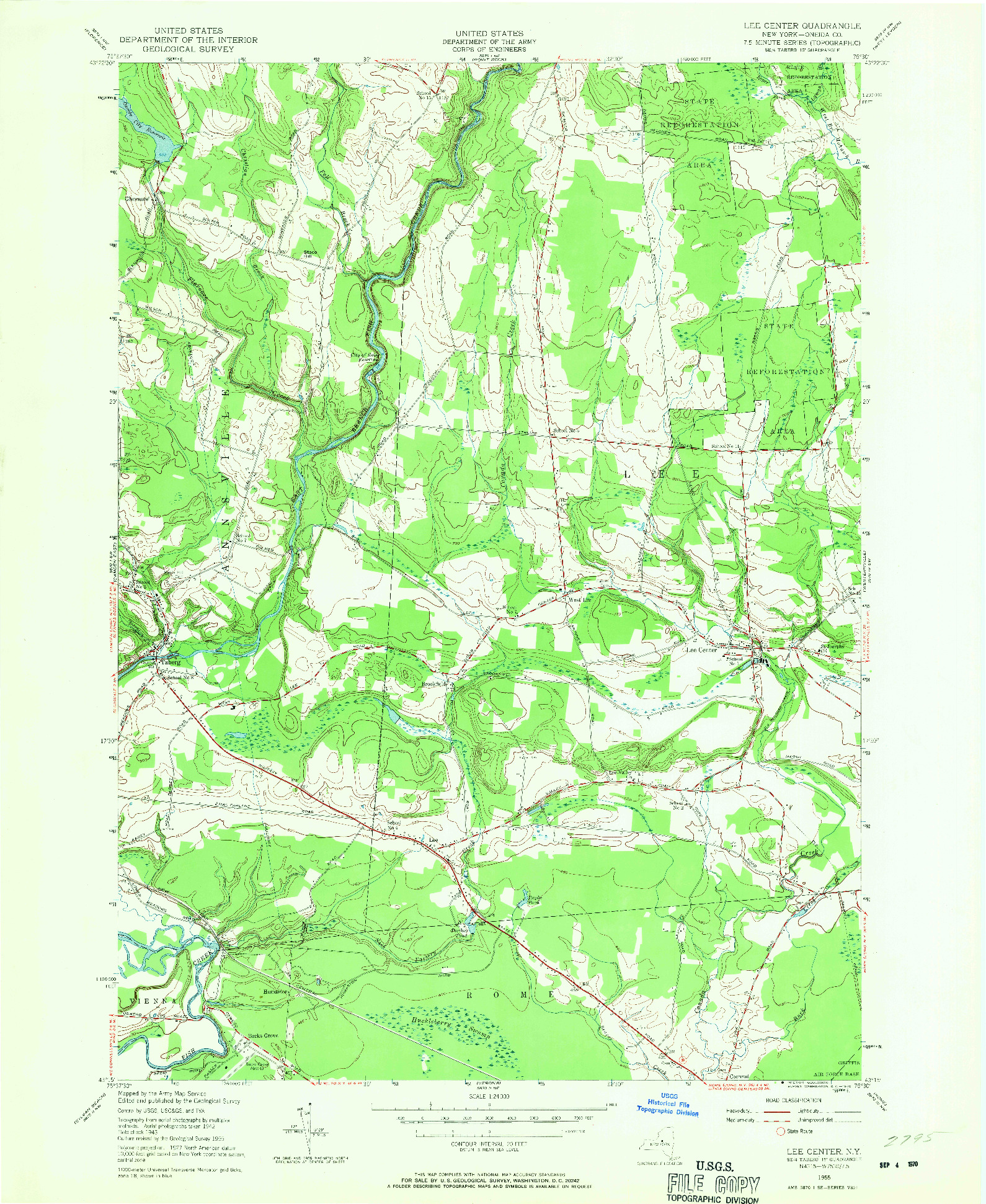 USGS 1:24000-SCALE QUADRANGLE FOR LEE CENTER, NY 1955