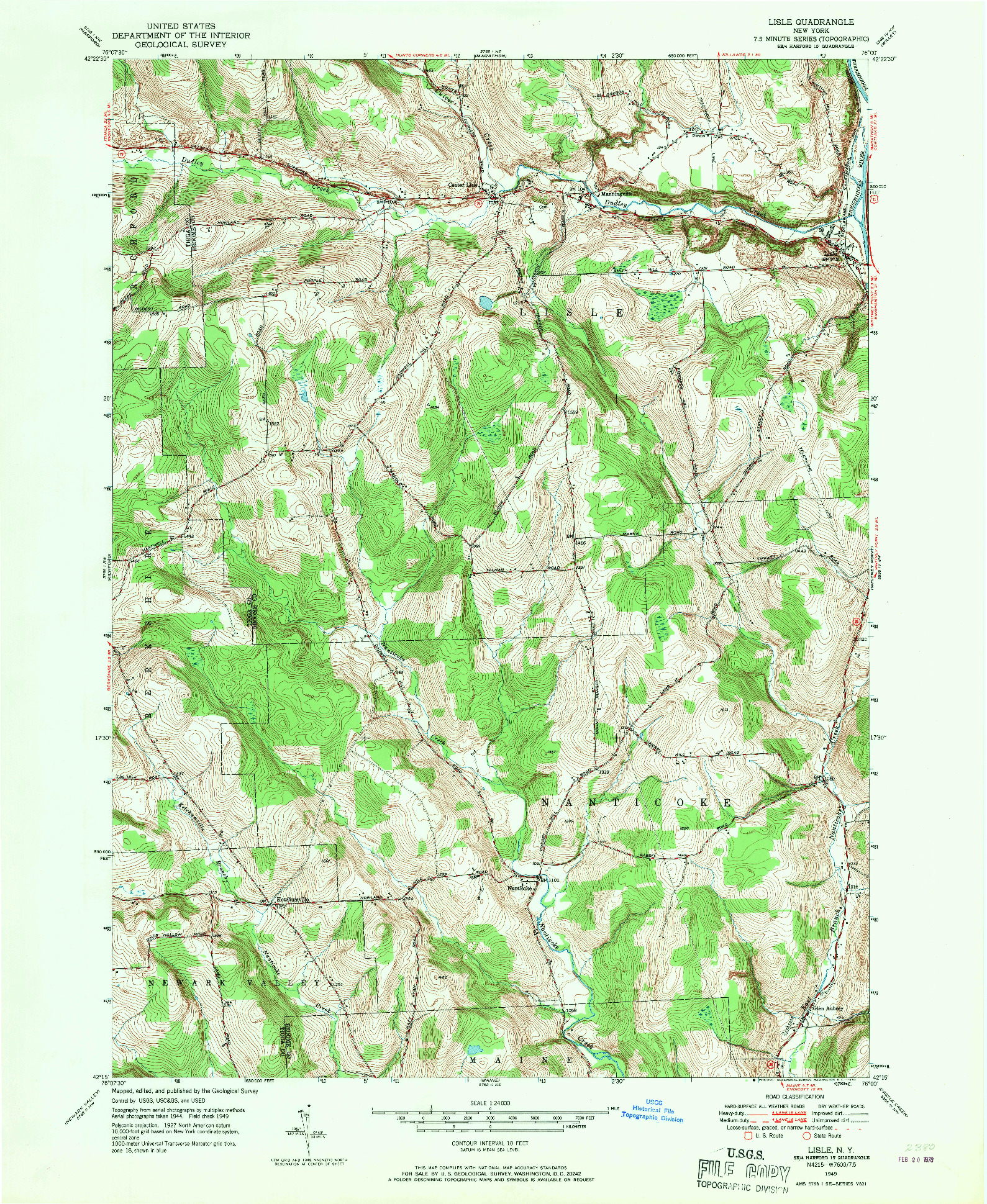 USGS 1:24000-SCALE QUADRANGLE FOR LISLE, NY 1949