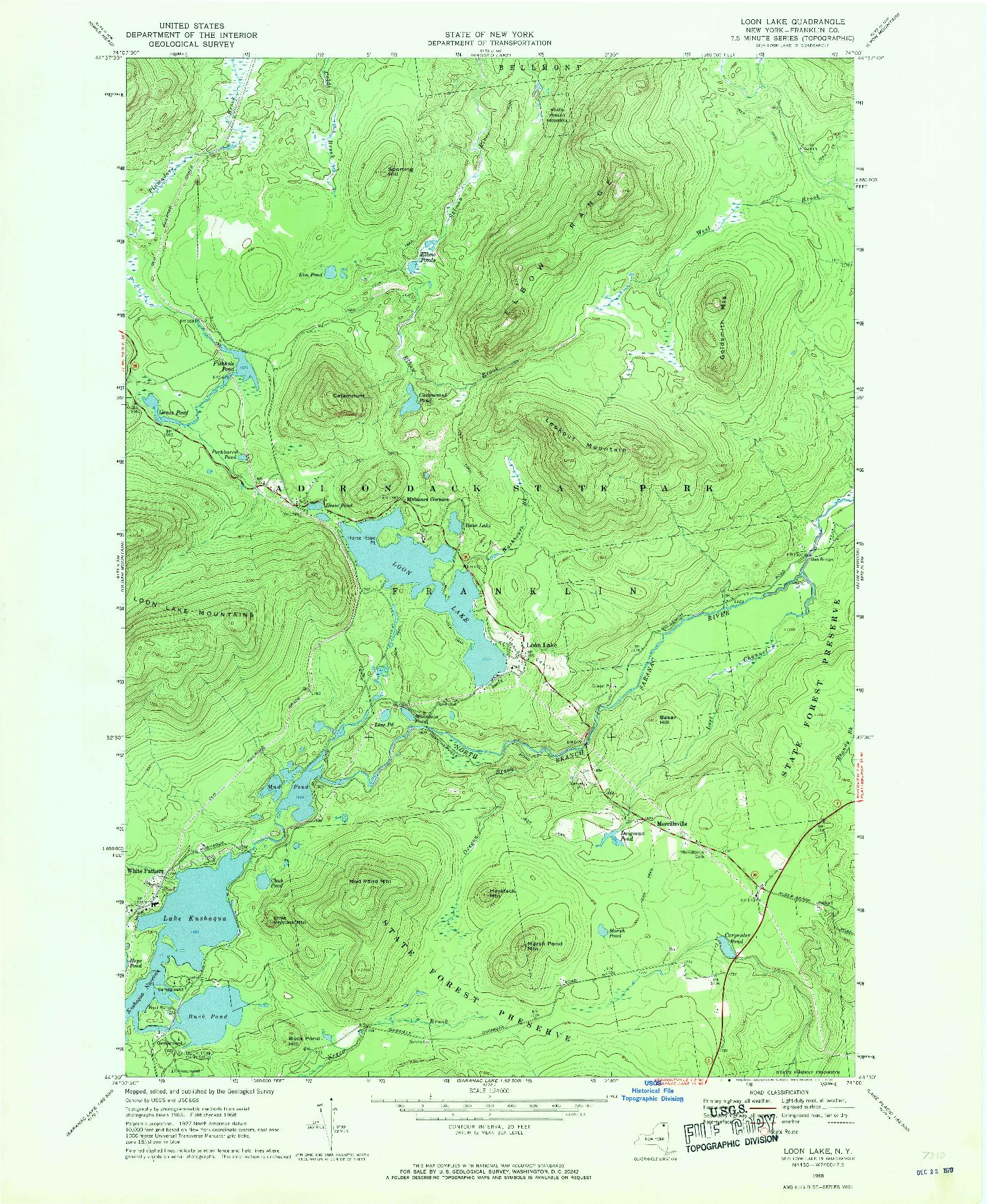 USGS 1:24000-SCALE QUADRANGLE FOR LOON LAKE, NY 1968