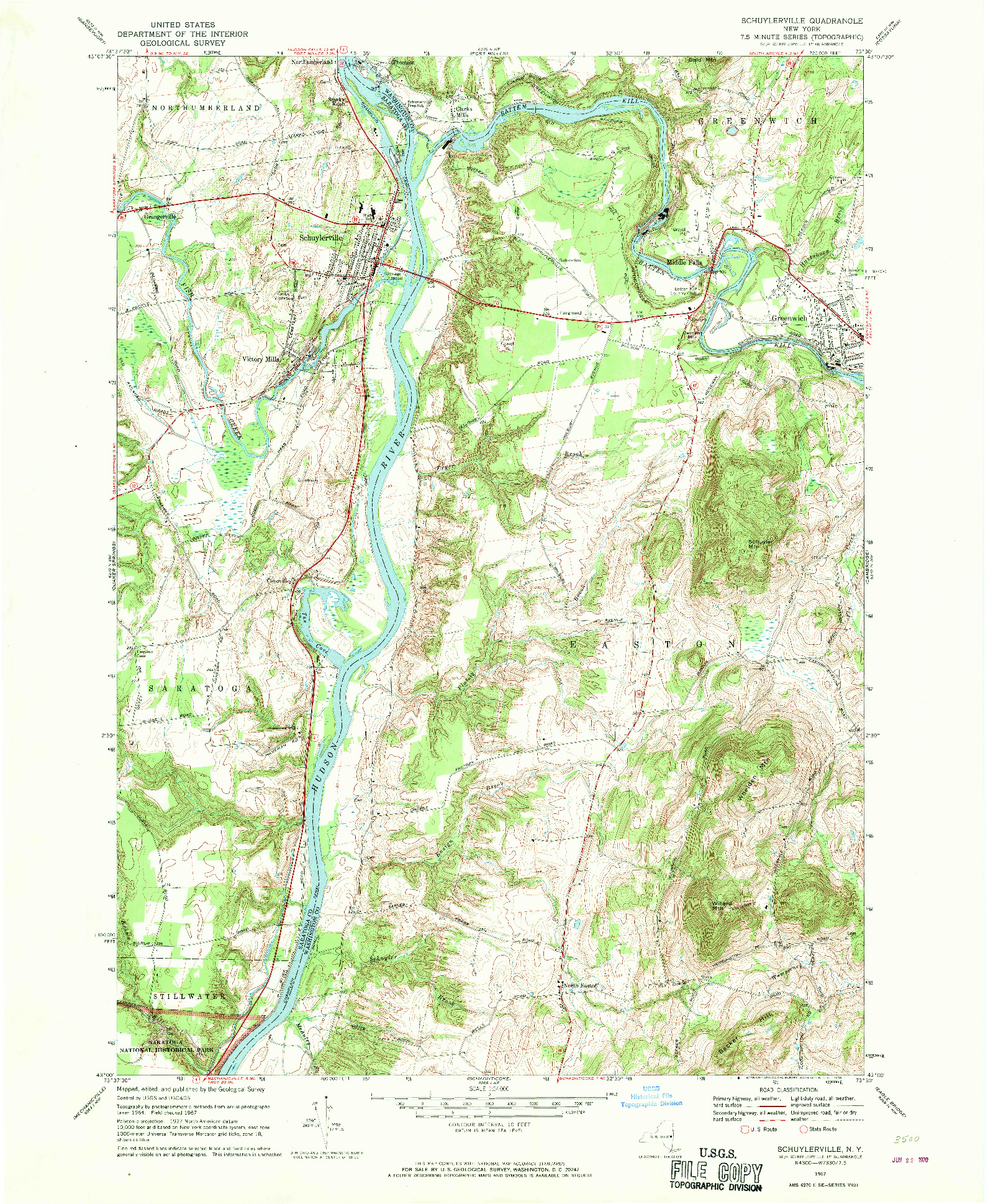 USGS 1:24000-SCALE QUADRANGLE FOR SCHUYLERVILLE, NY 1967