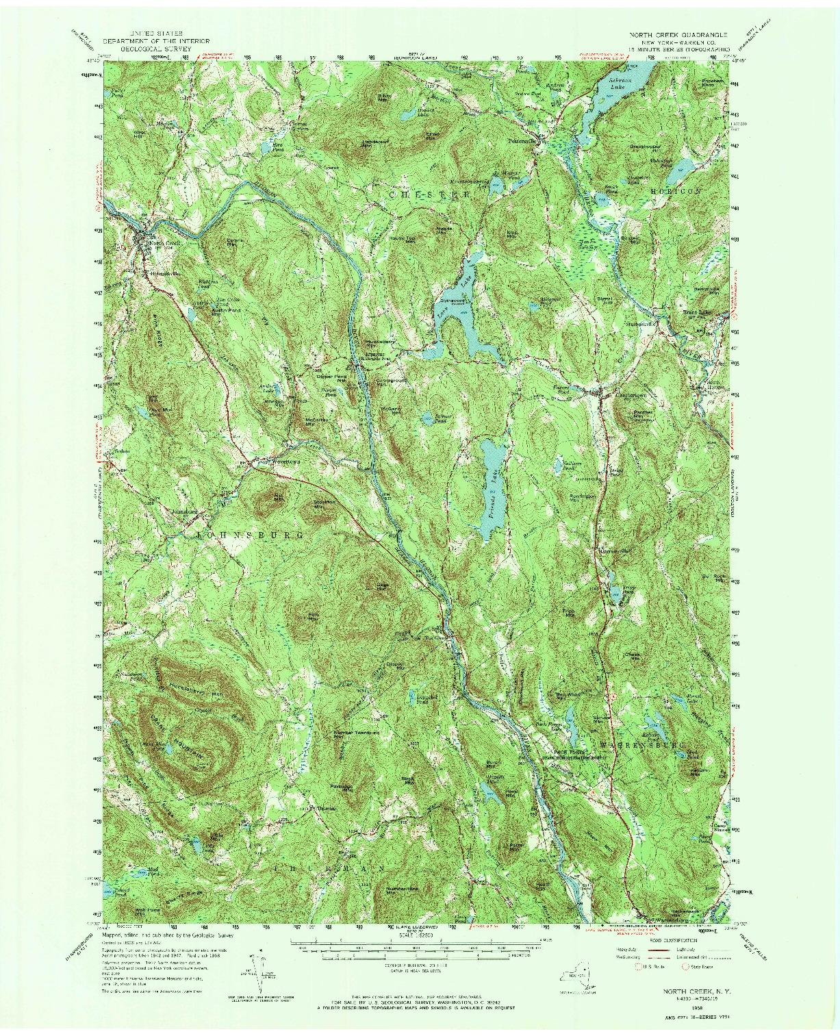 USGS 1:62500-SCALE QUADRANGLE FOR NORTH CREEK, NY 1958