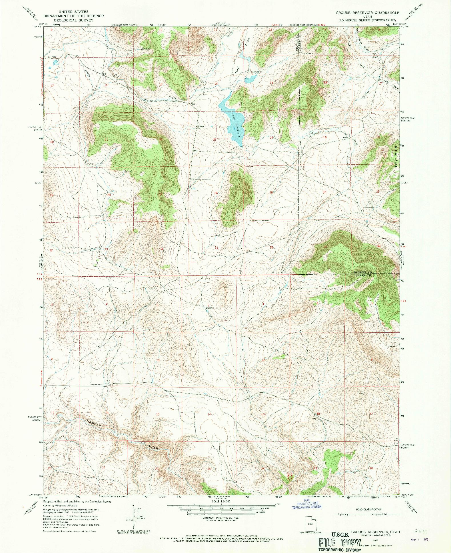 USGS 1:24000-SCALE QUADRANGLE FOR CROUSE RESERVOIR, UT 1967