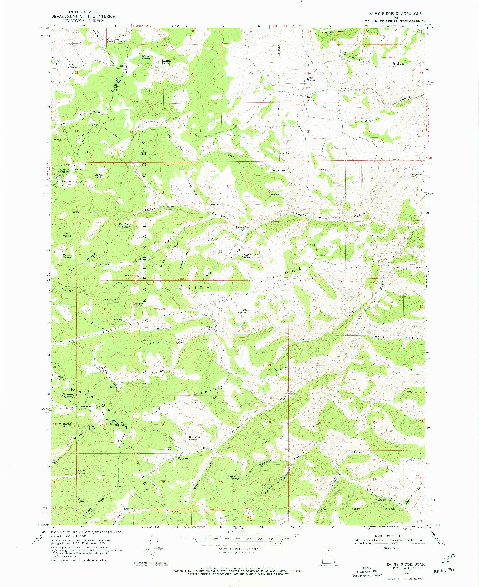 USGS 1:24000-SCALE QUADRANGLE FOR DAIRY RIDGE, UT 1968