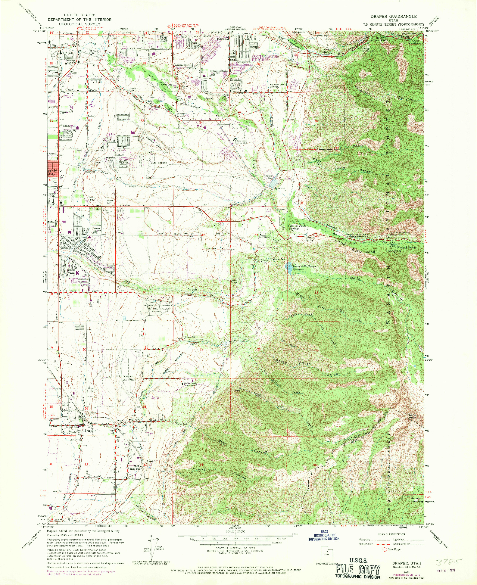 USGS 1:24000-SCALE QUADRANGLE FOR DRAPER, UT 1963