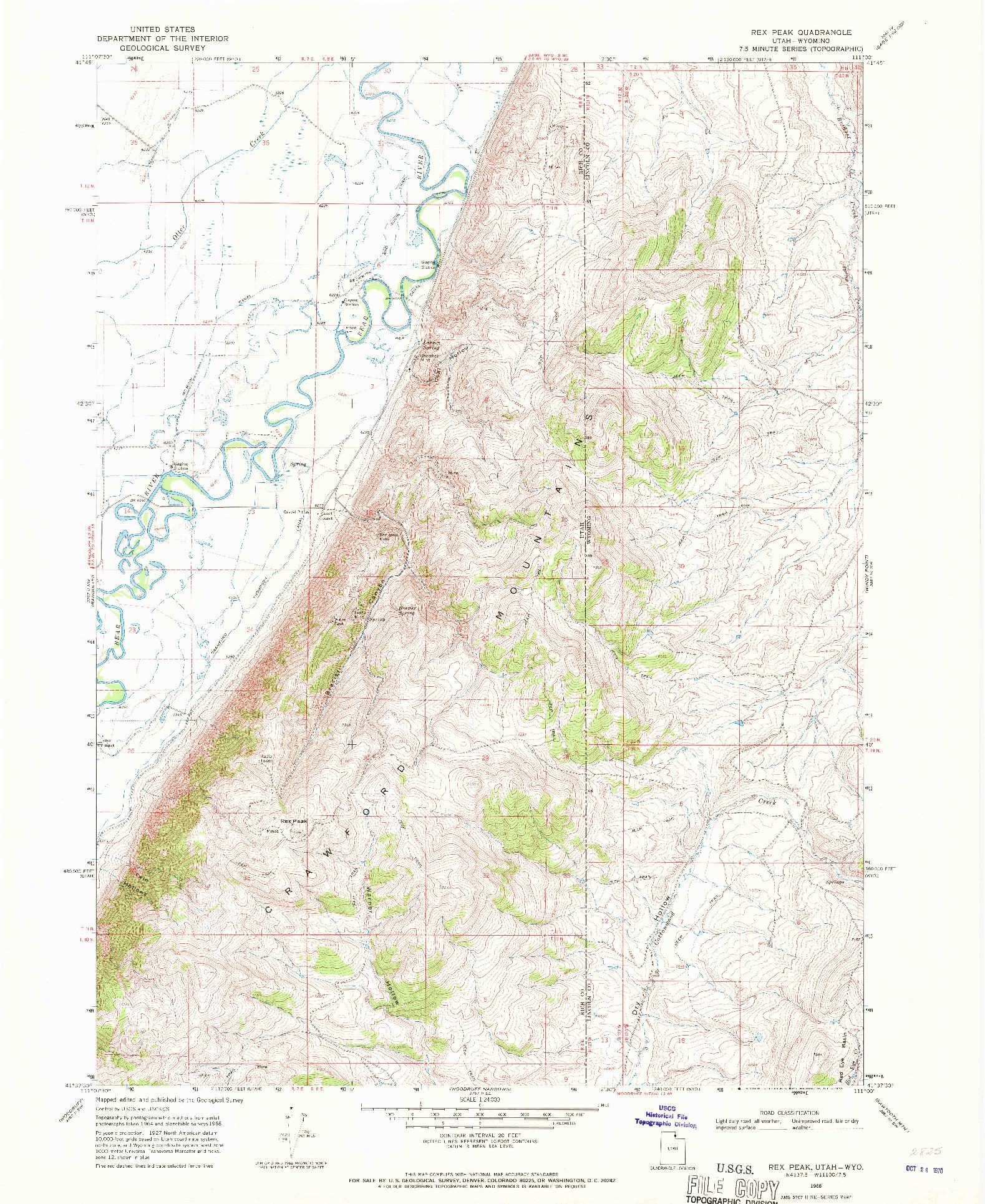 USGS 1:24000-SCALE QUADRANGLE FOR REX PEAK, UT 1968