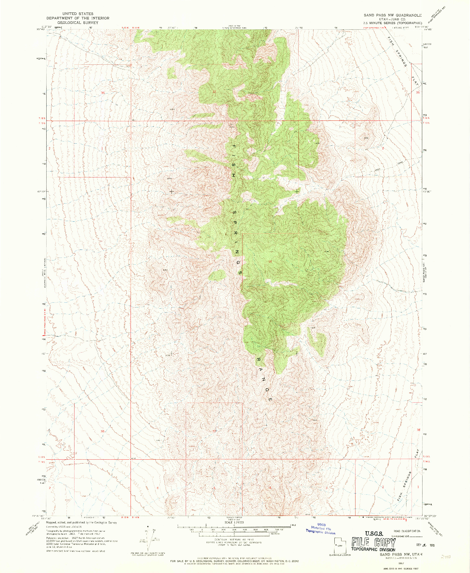 USGS 1:24000-SCALE QUADRANGLE FOR SAND PASS NW, UT 1967