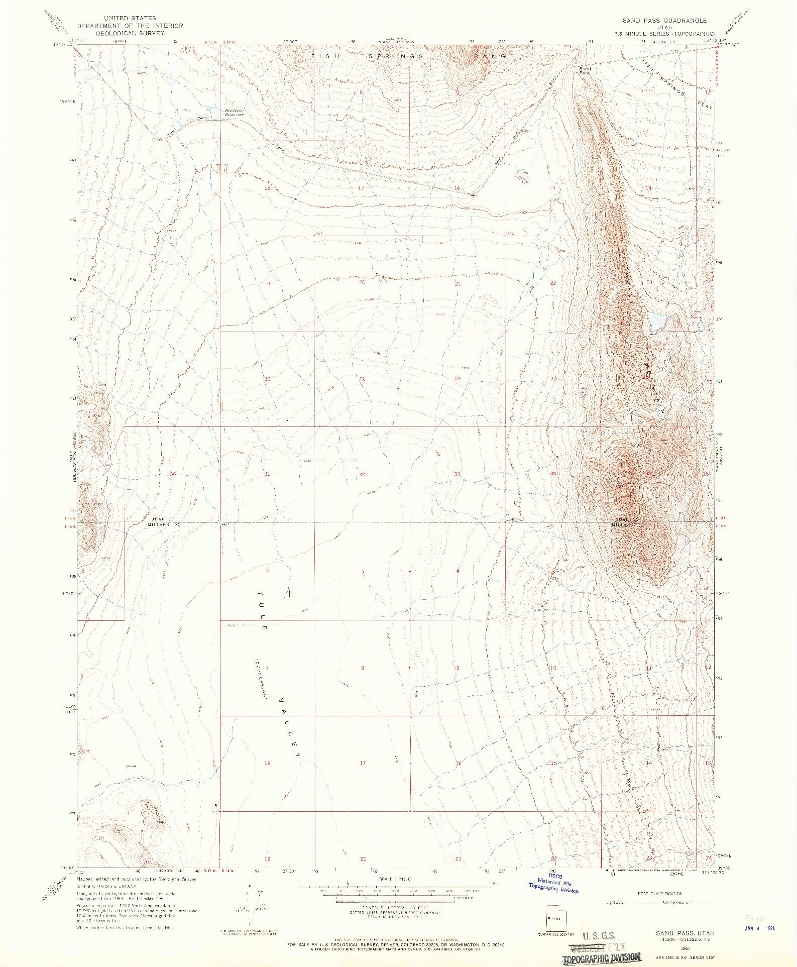 USGS 1:24000-SCALE QUADRANGLE FOR SAND PASS, UT 1967