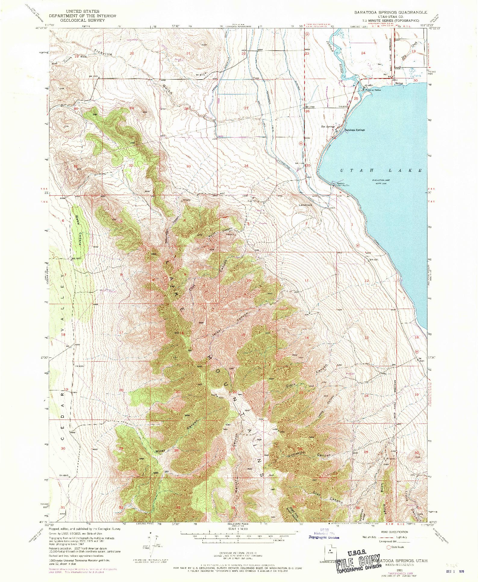 USGS 1:24000-SCALE QUADRANGLE FOR SARATOGA SPRINGS, UT 1951