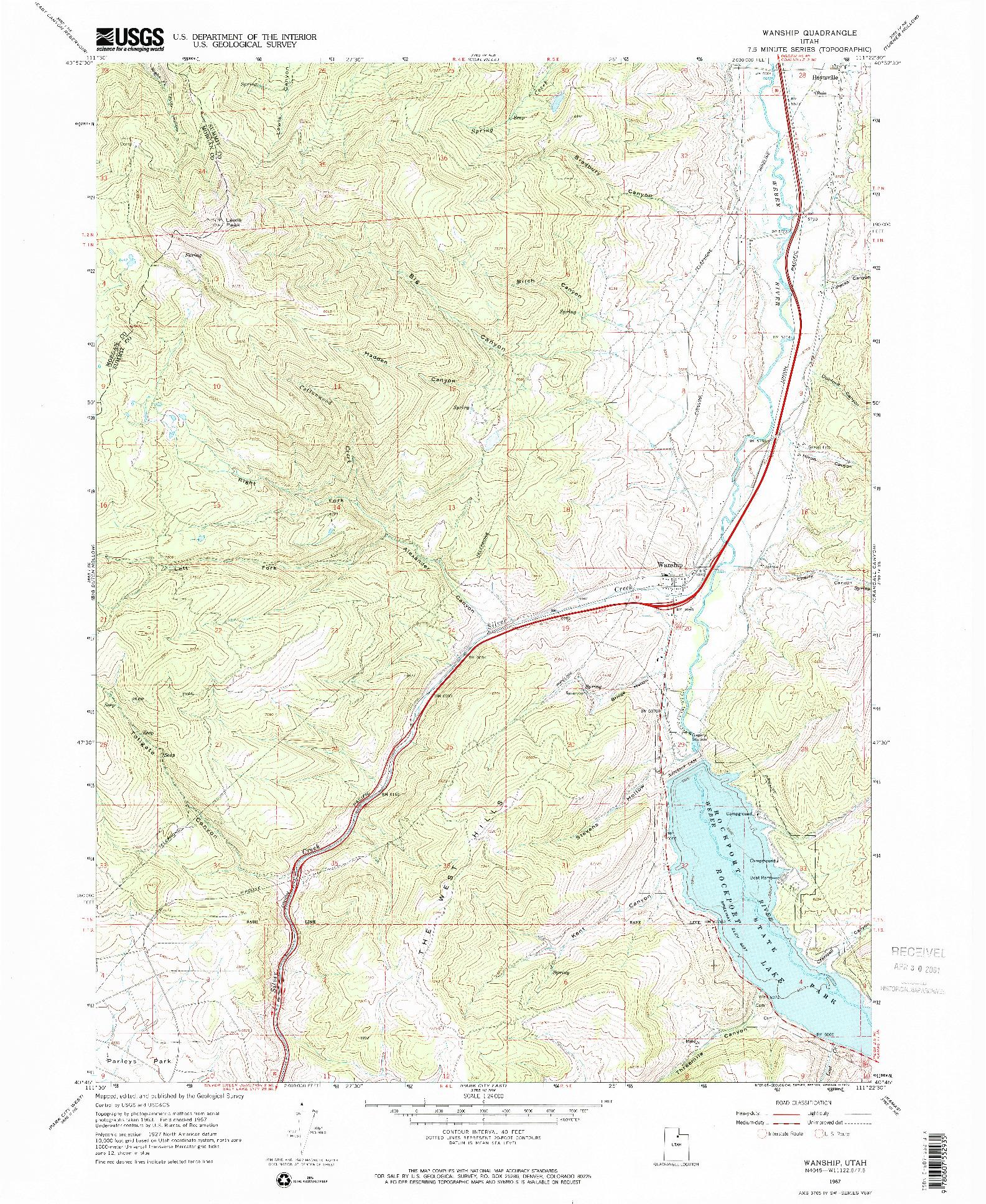 USGS 1:24000-SCALE QUADRANGLE FOR WANSHIP, UT 1967