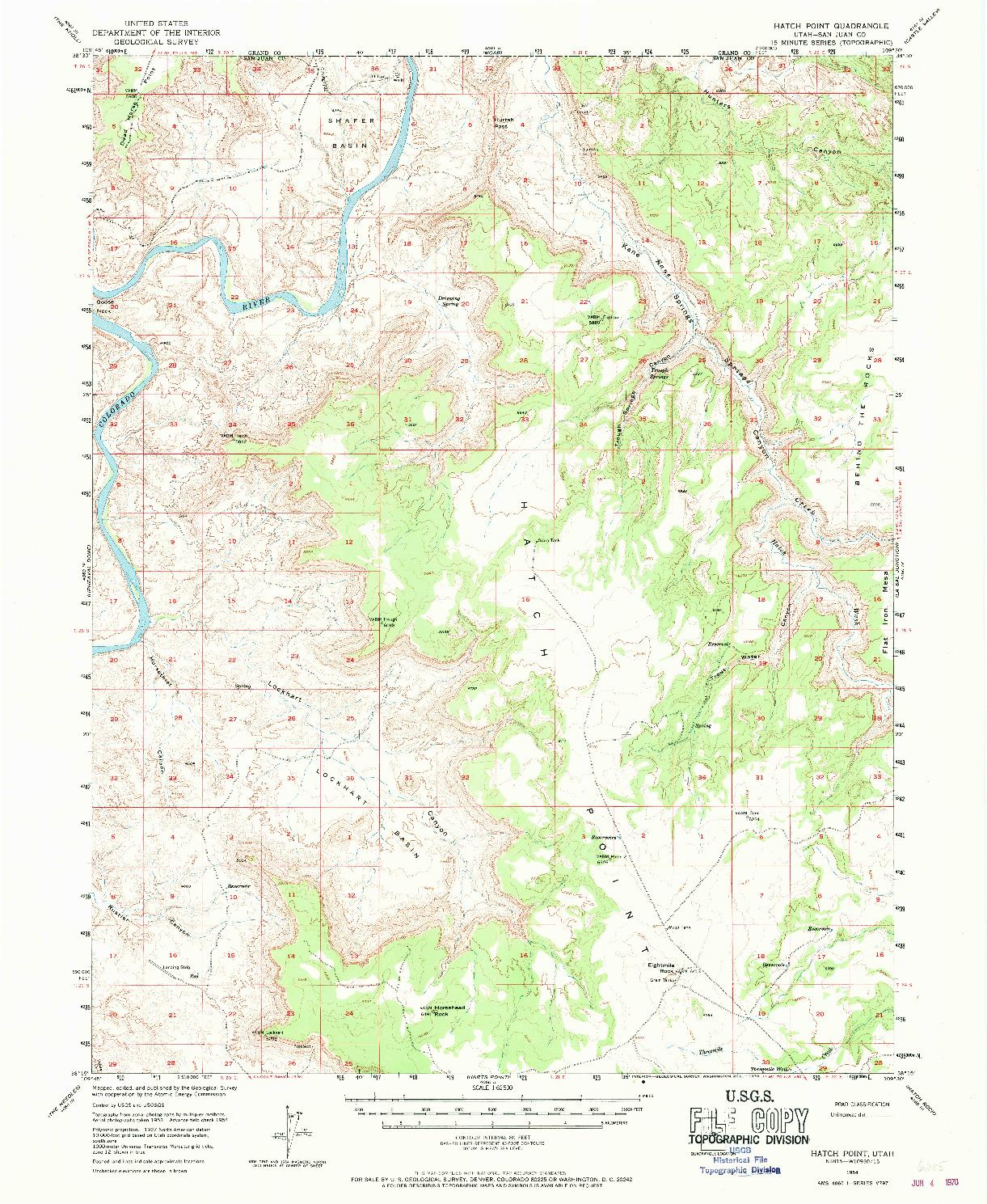 USGS 1:62500-SCALE QUADRANGLE FOR HATCH POINT, UT 1954
