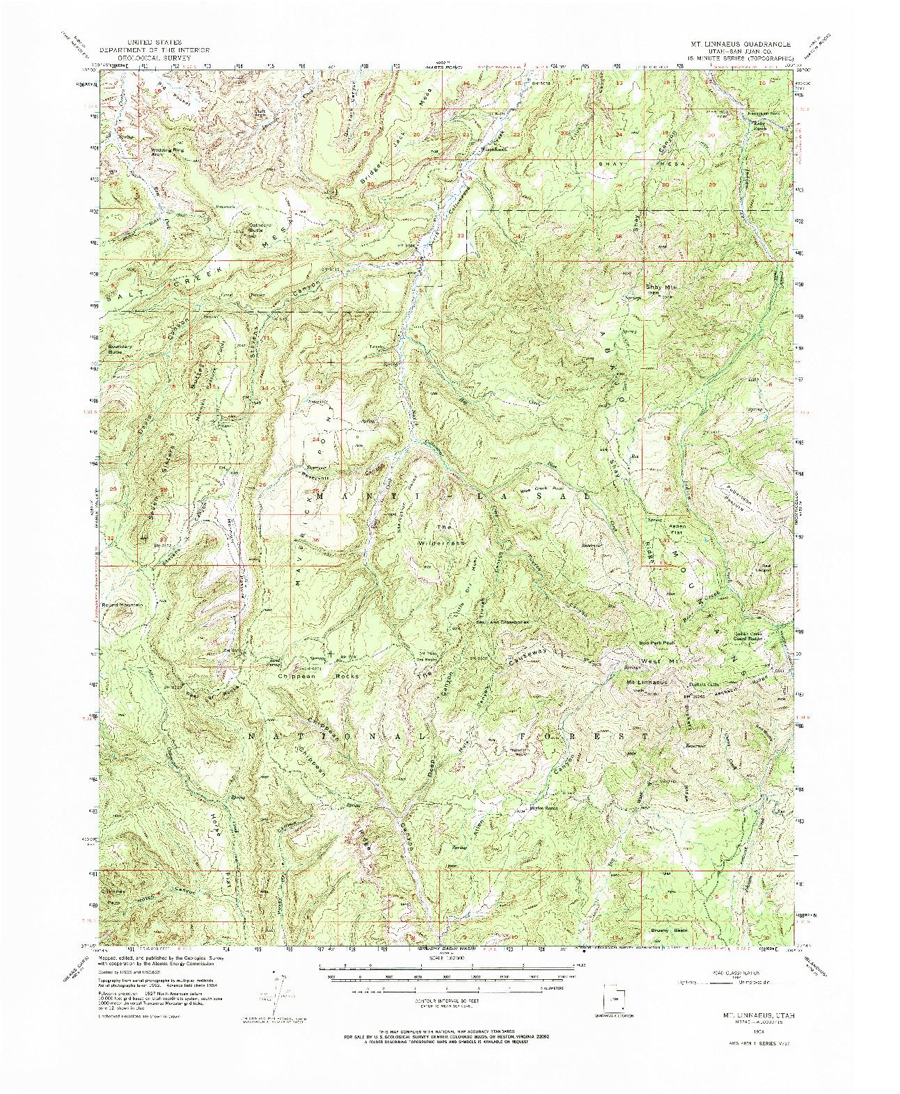 USGS 1:62500-SCALE QUADRANGLE FOR MOUNT LINNAEUS, UT 1954