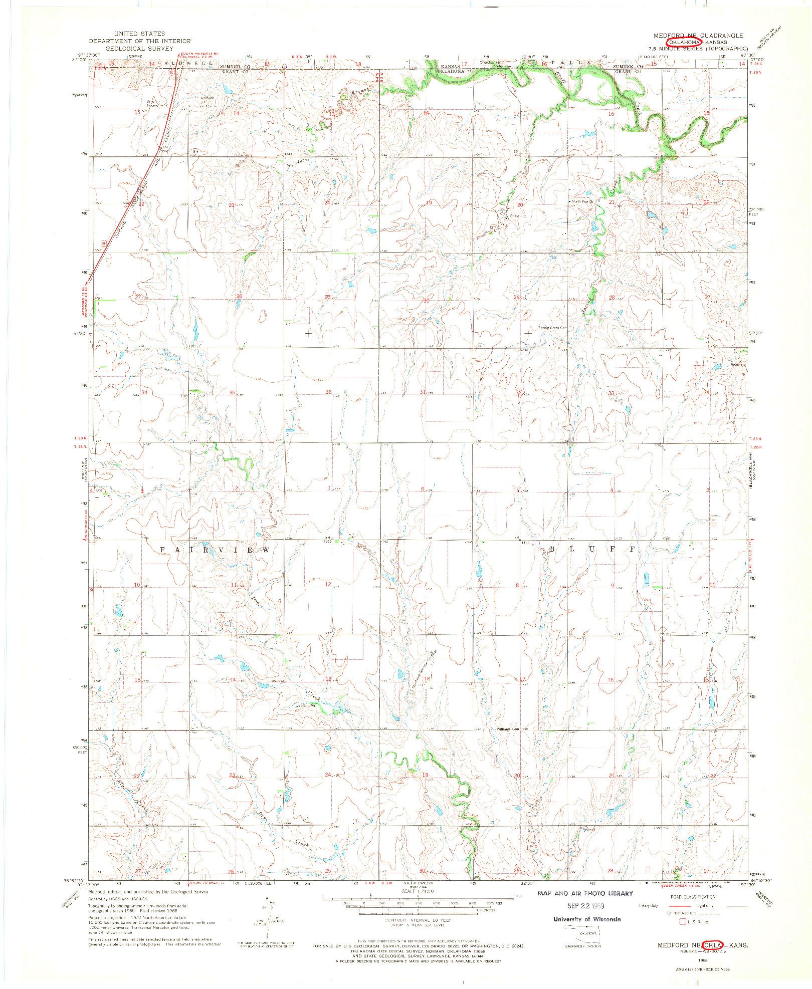 USGS 1:24000-SCALE QUADRANGLE FOR MEDFORD NE, OK 1968
