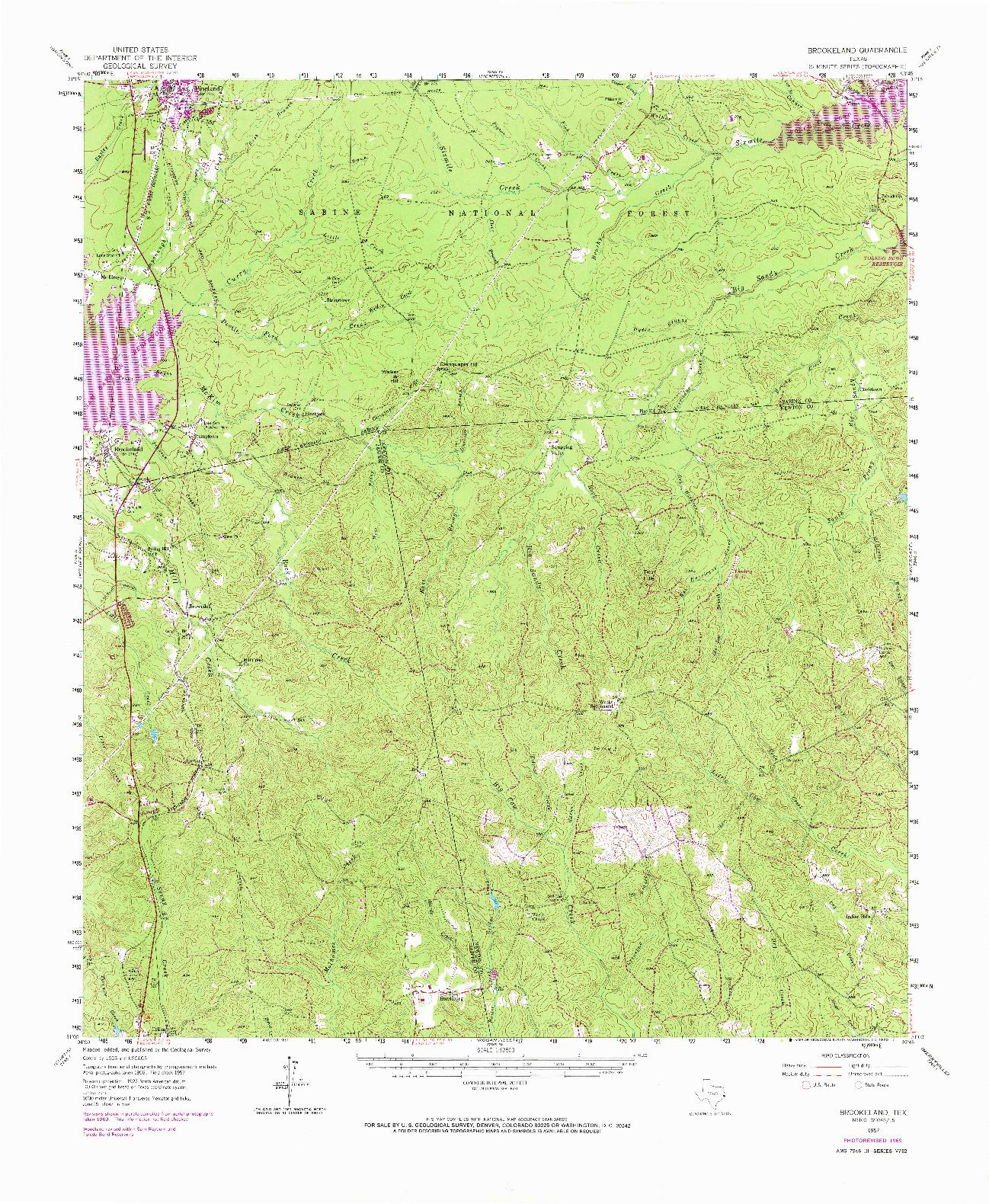 USGS 1:62500-SCALE QUADRANGLE FOR BROOKELAND, TX 1969