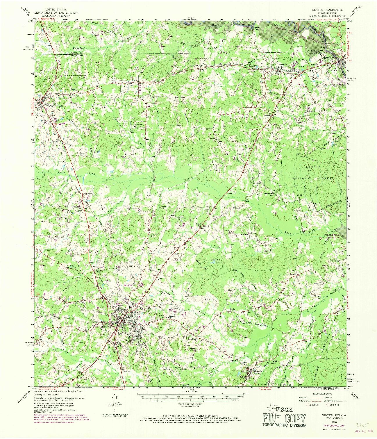 USGS 1:62500-SCALE QUADRANGLE FOR CENTER, TX 1958