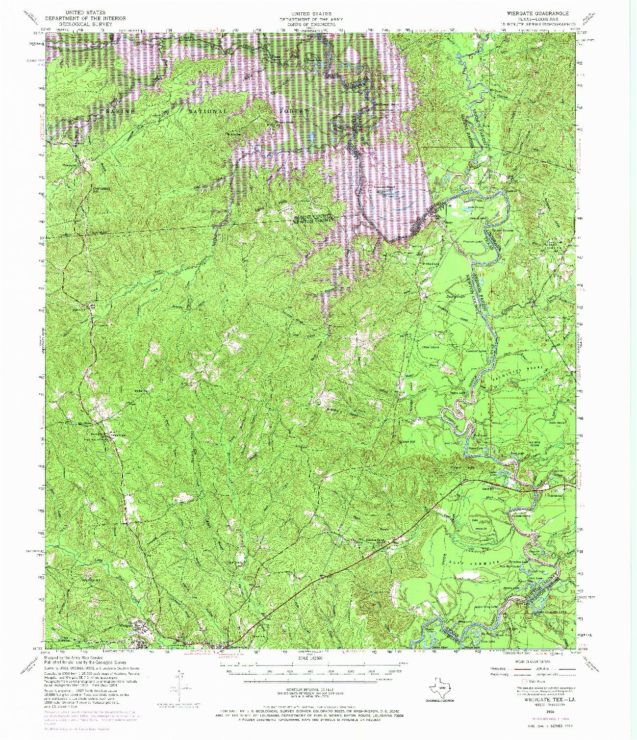 USGS 1:62500-SCALE QUADRANGLE FOR WIERGATE, TX 1954