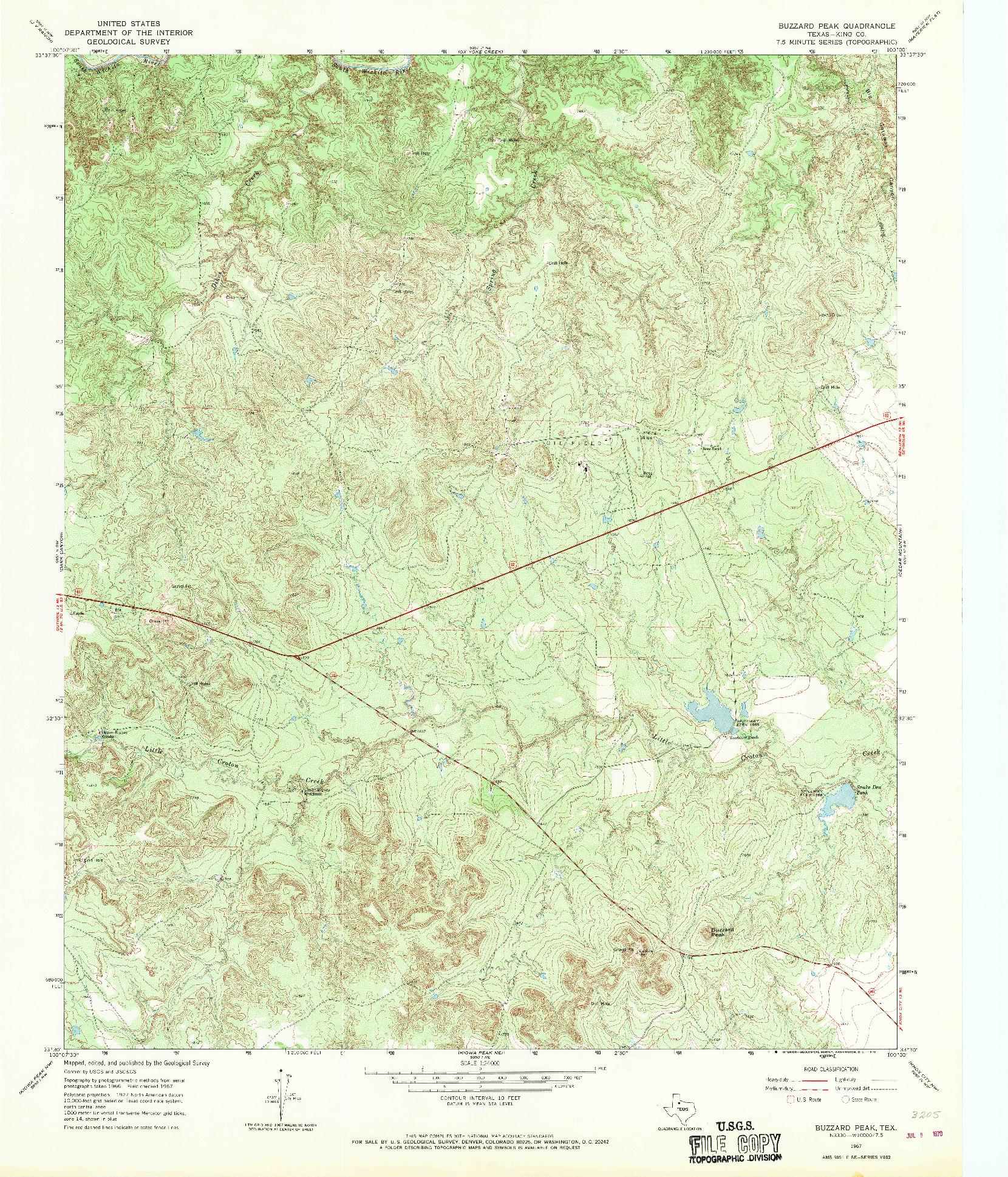 USGS 1:24000-SCALE QUADRANGLE FOR BUZZARD PEAK, TX 1967