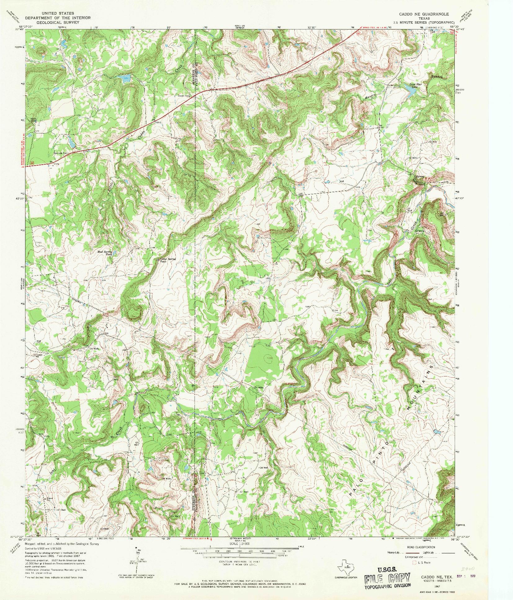 USGS 1:24000-SCALE QUADRANGLE FOR CADDO NE, TX 1967