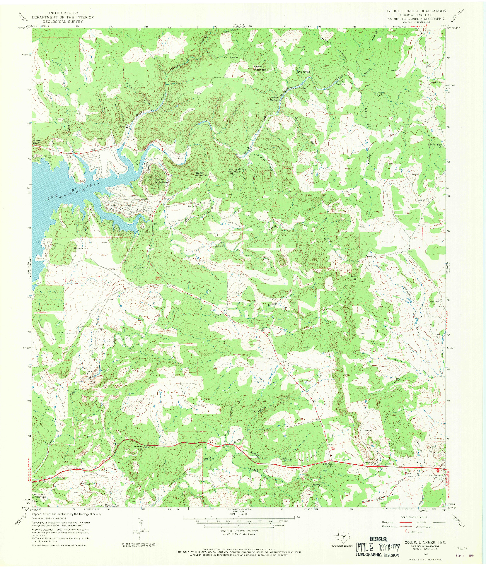 USGS 1:24000-SCALE QUADRANGLE FOR COUNCIL CREEK, TX 1967