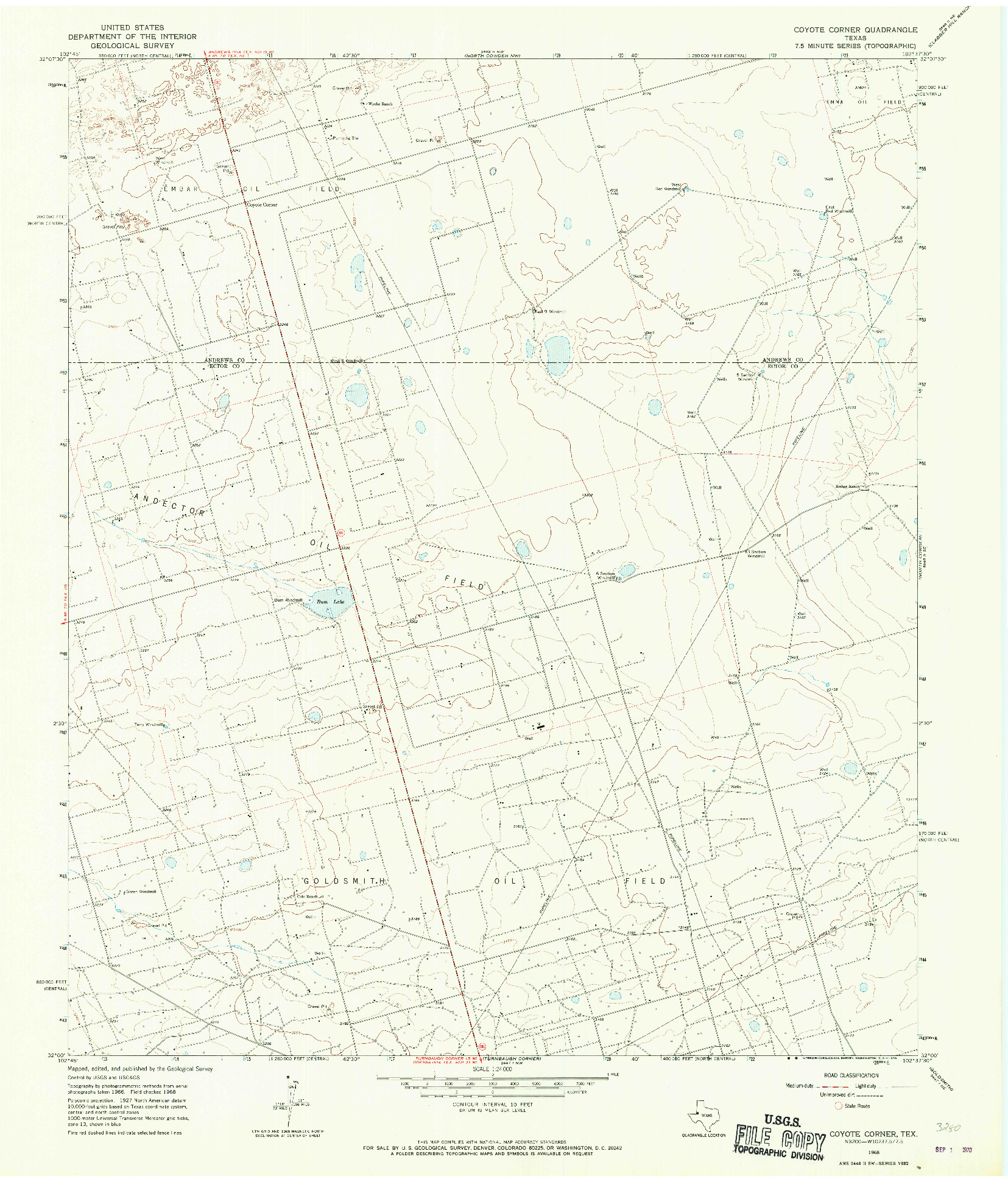 USGS 1:24000-SCALE QUADRANGLE FOR COYOTE CORNER, TX 1968