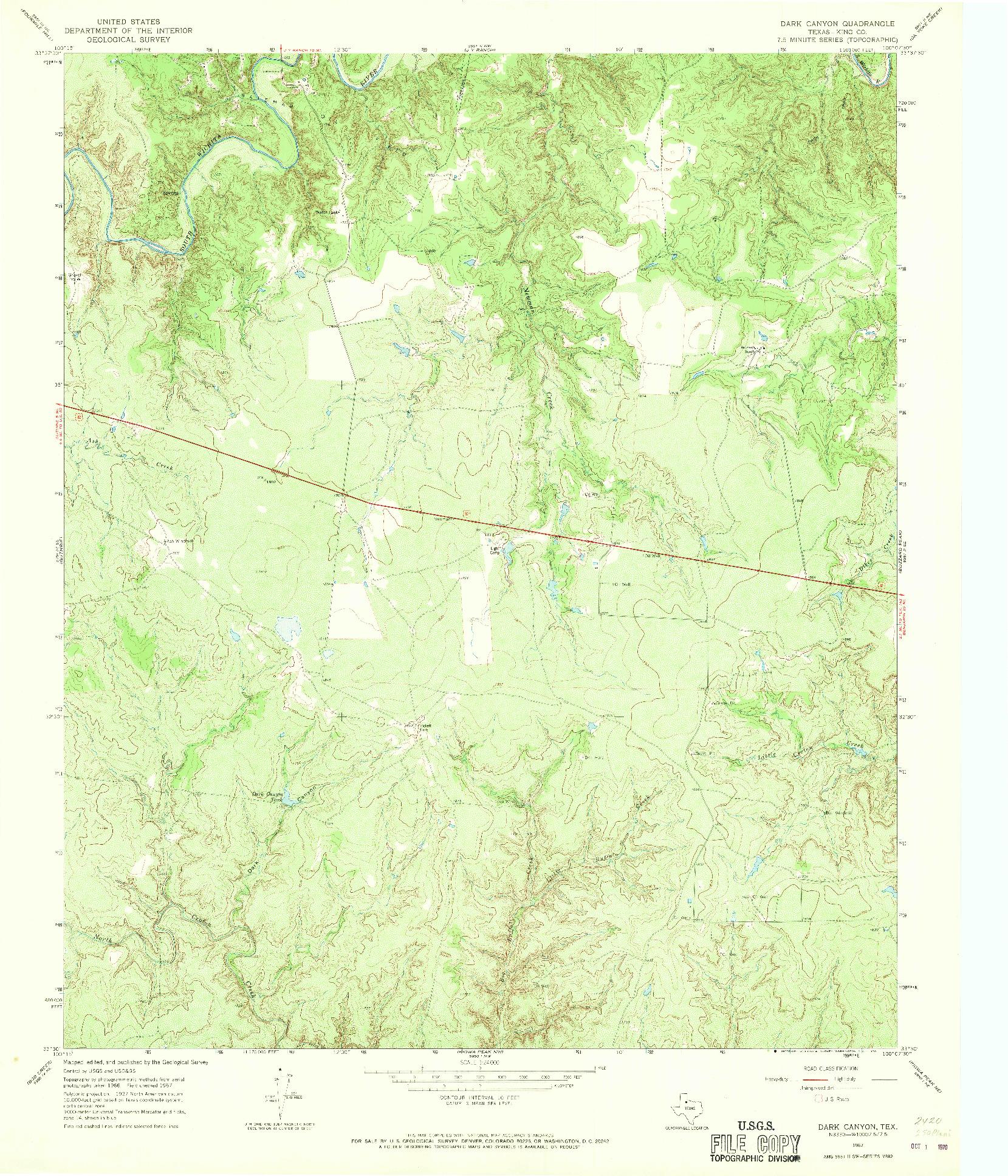 USGS 1:24000-SCALE QUADRANGLE FOR DARK CANYON, TX 1967