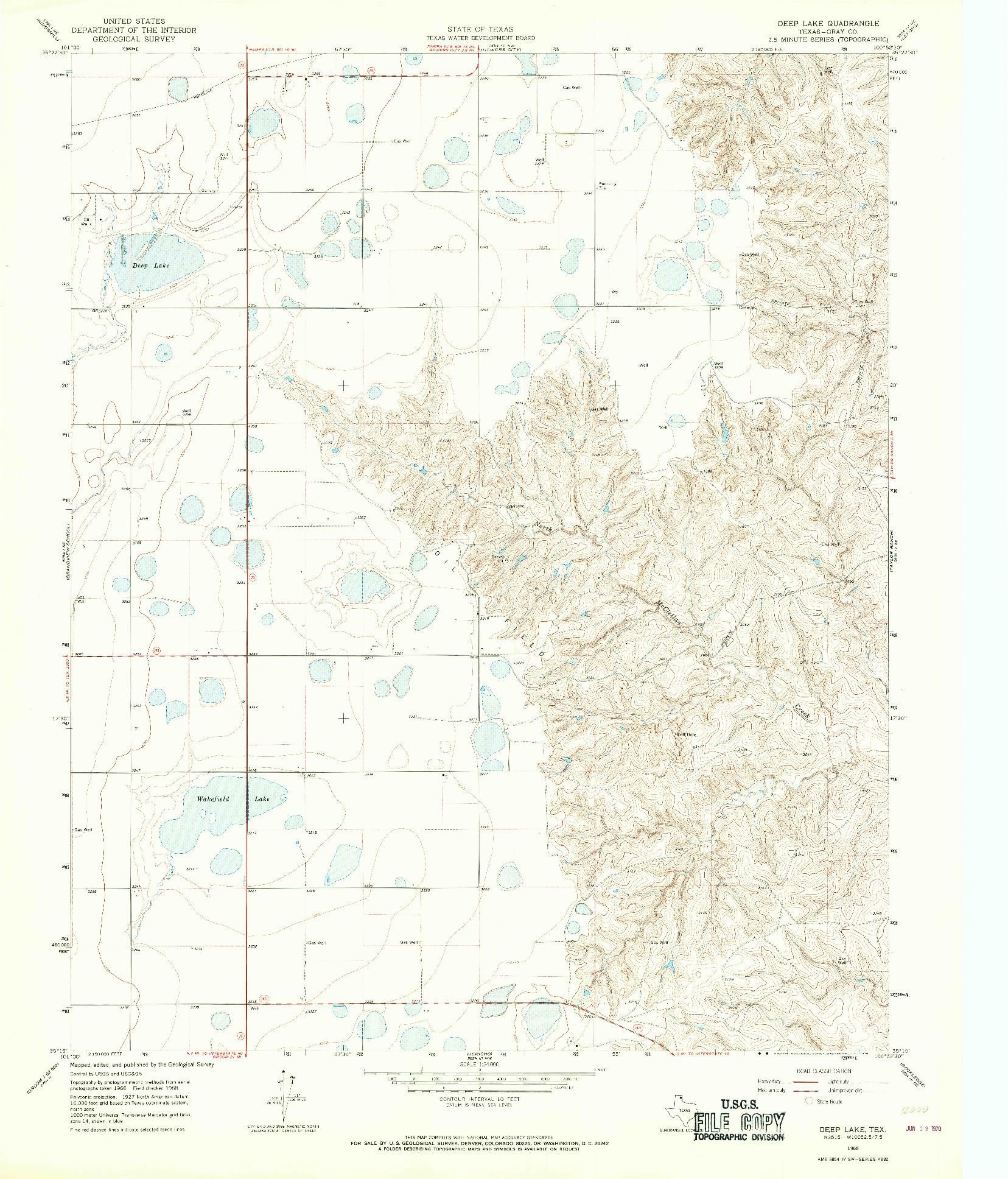 USGS 1:24000-SCALE QUADRANGLE FOR DEEP LAKE, TX 1968