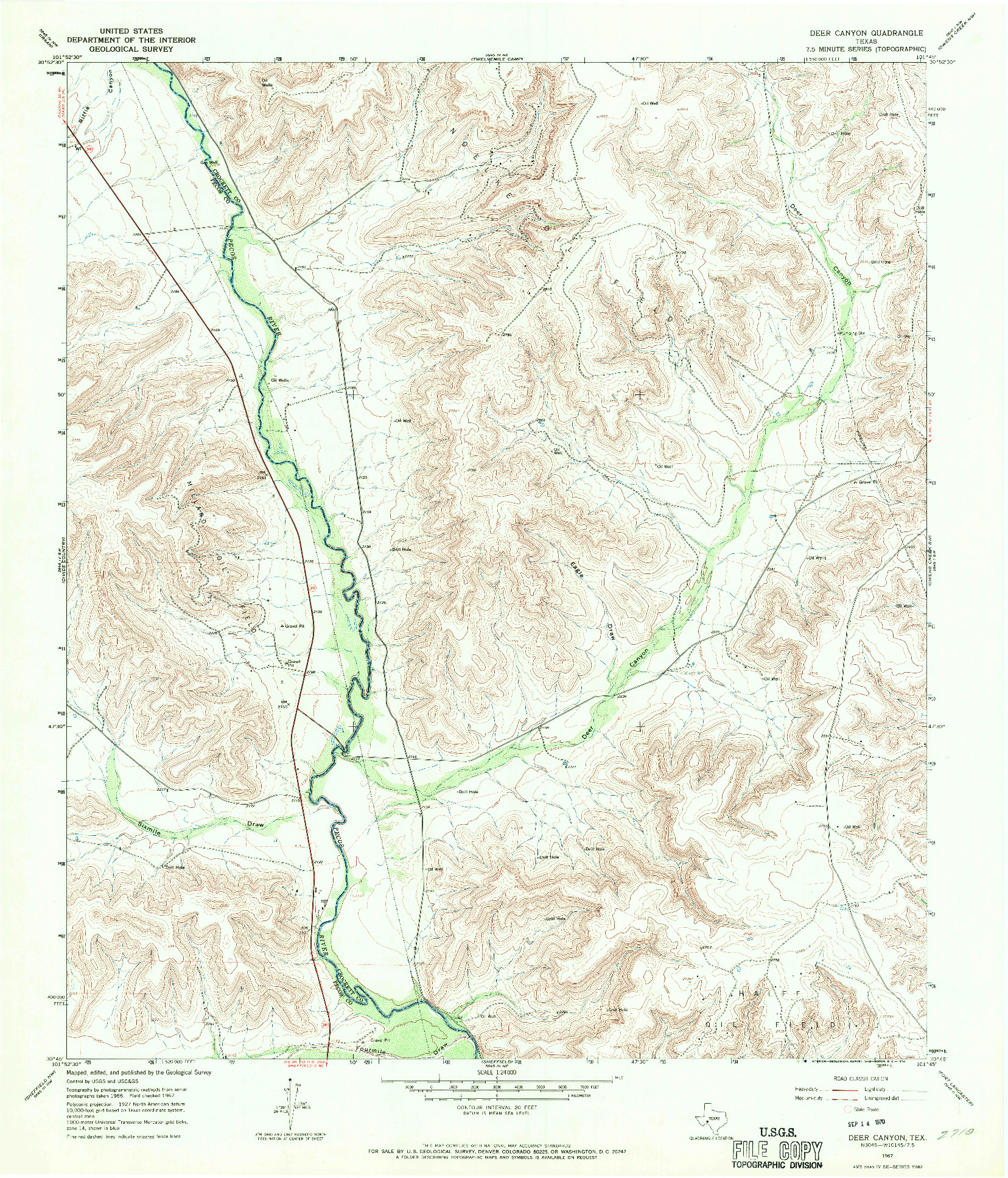 USGS 1:24000-SCALE QUADRANGLE FOR DEER CANYON, TX 1967