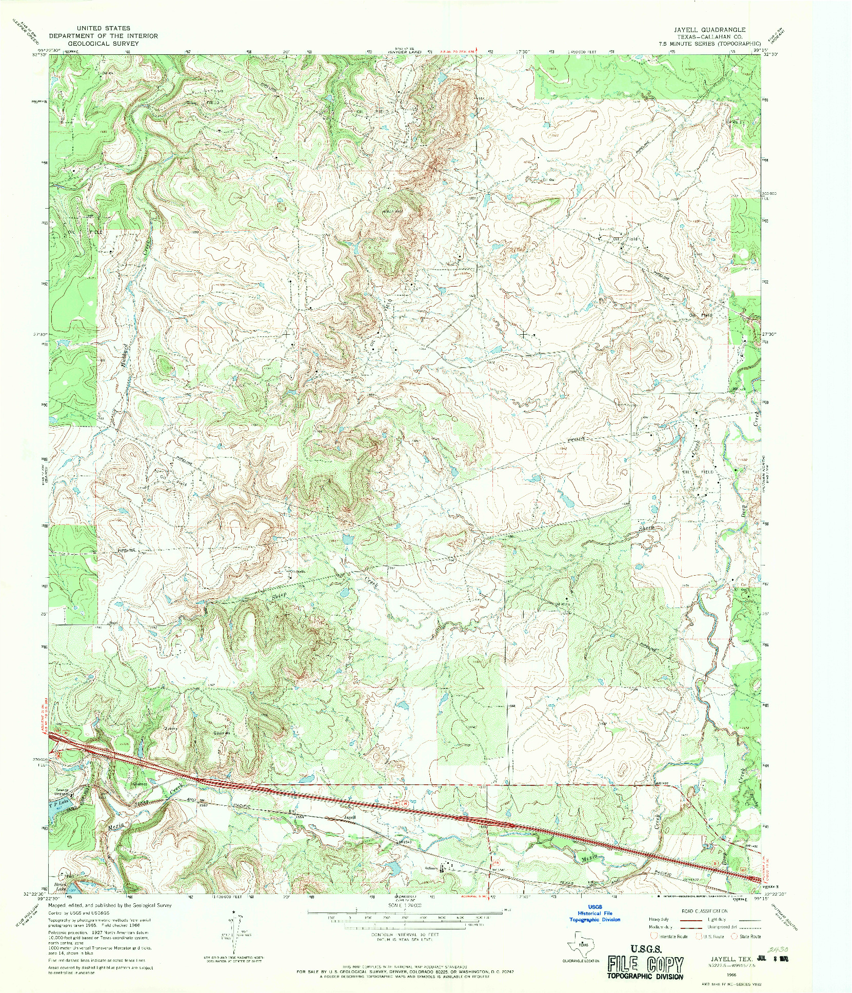 USGS 1:24000-SCALE QUADRANGLE FOR JAYELL, TX 1966