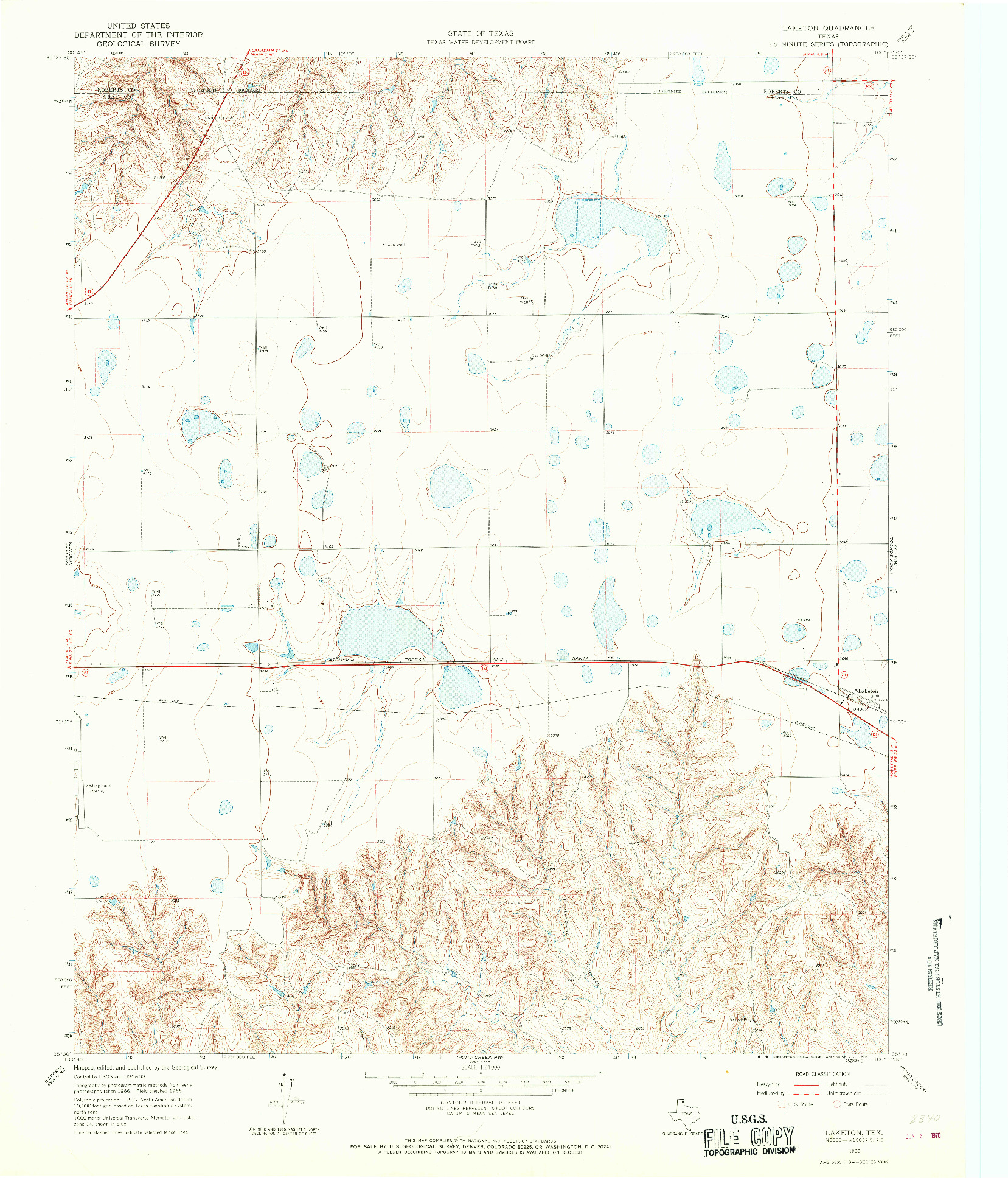 USGS 1:24000-SCALE QUADRANGLE FOR LAKETON, TX 1966