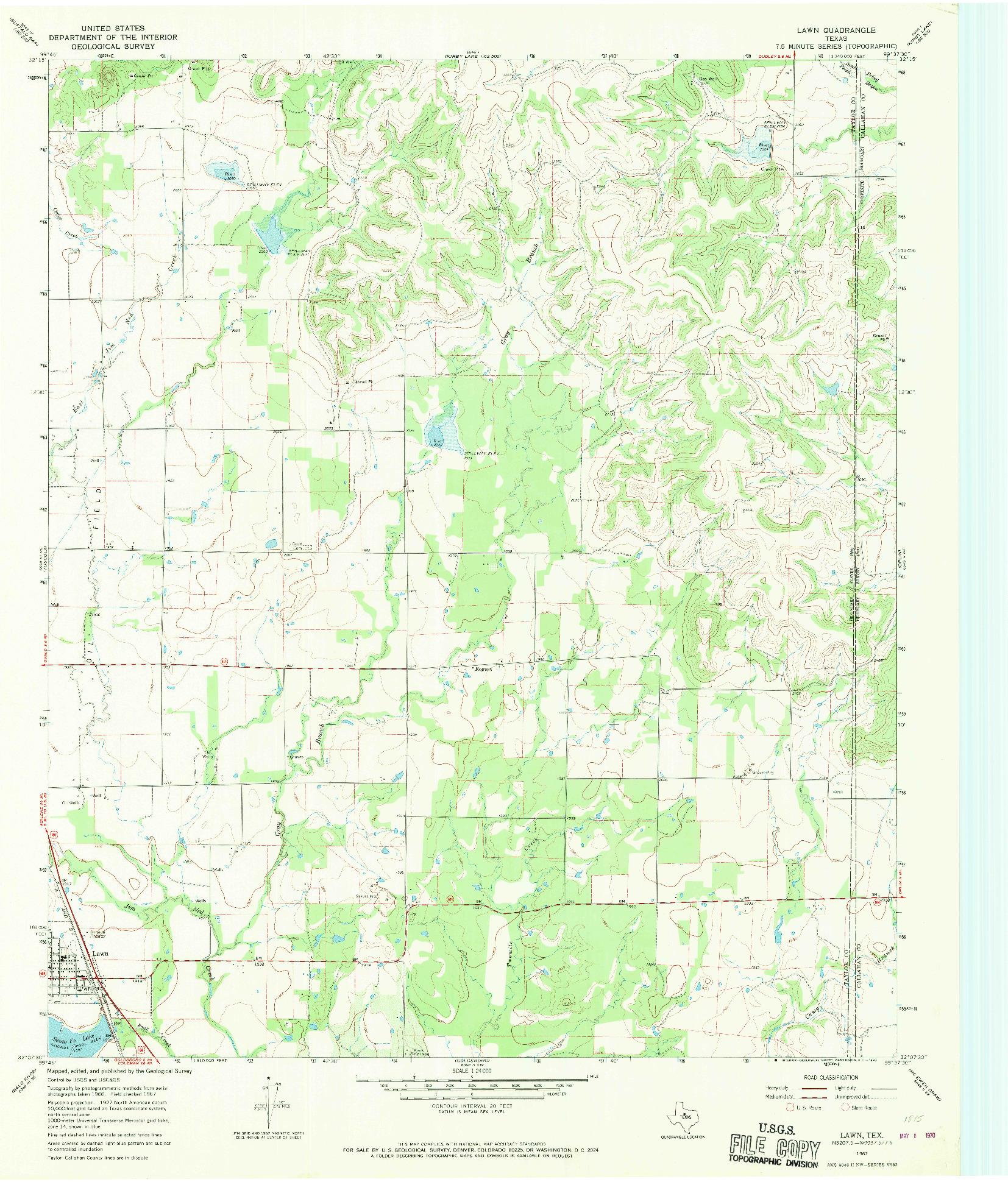 USGS 1:24000-SCALE QUADRANGLE FOR LAWN, TX 1967