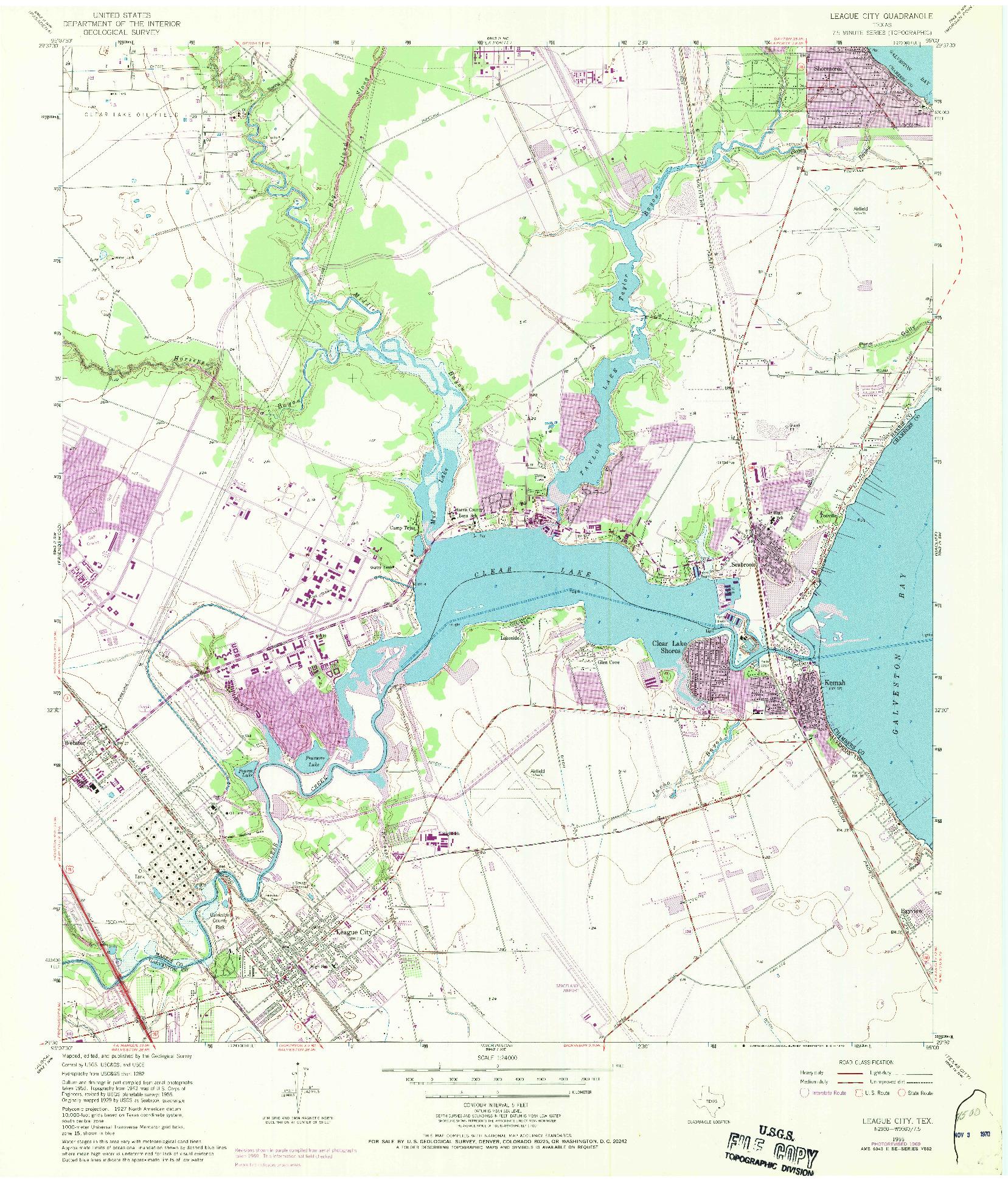 USGS 1:24000-SCALE QUADRANGLE FOR LEAGUE CITY, TX 1955