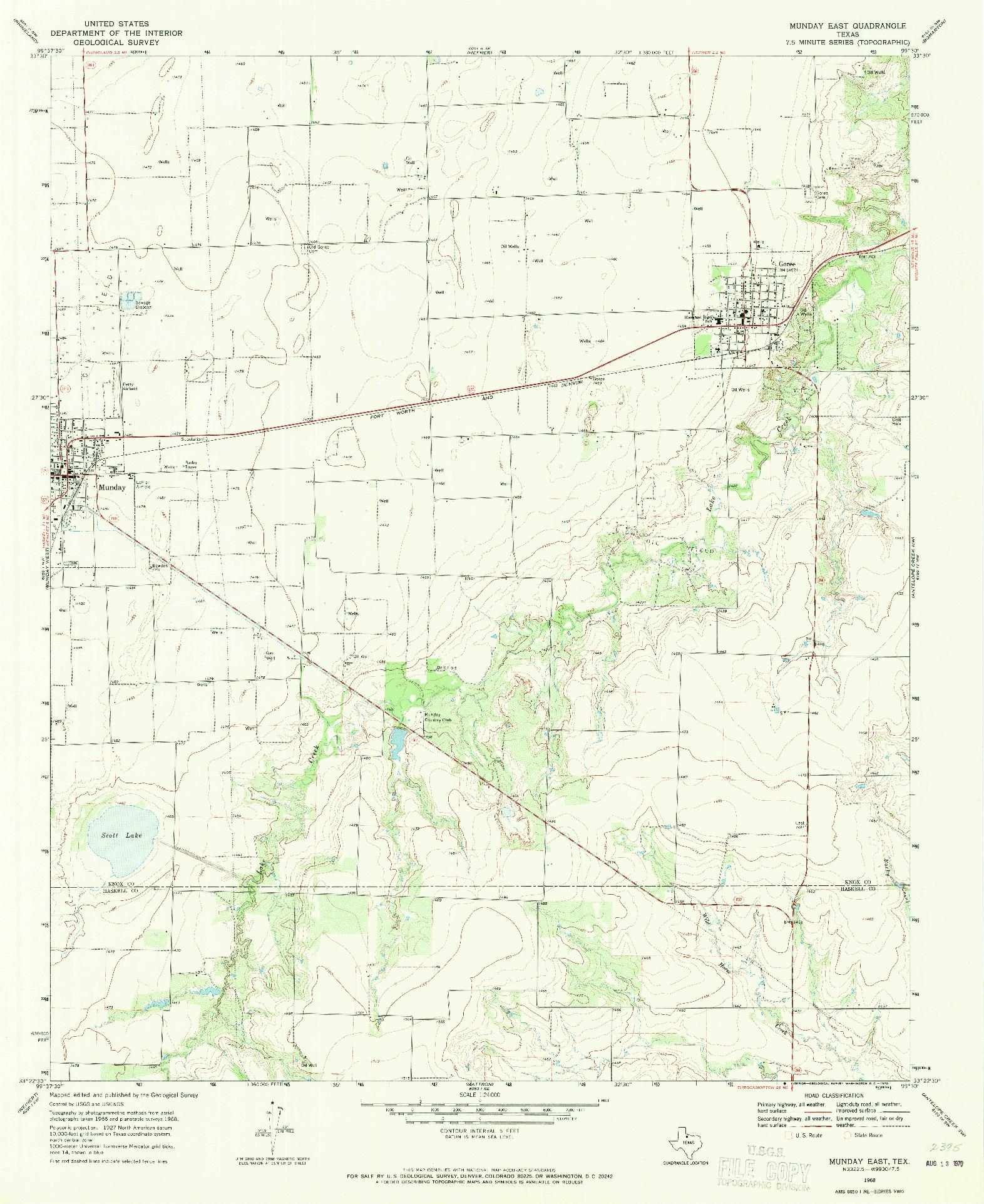USGS 1:24000-SCALE QUADRANGLE FOR MUNDAY EAST, TX 1968