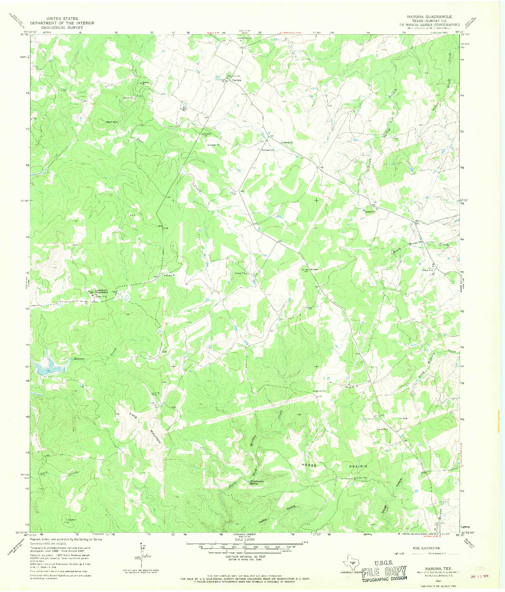 USGS 1:24000-SCALE QUADRANGLE FOR NARUNA, TX 1967