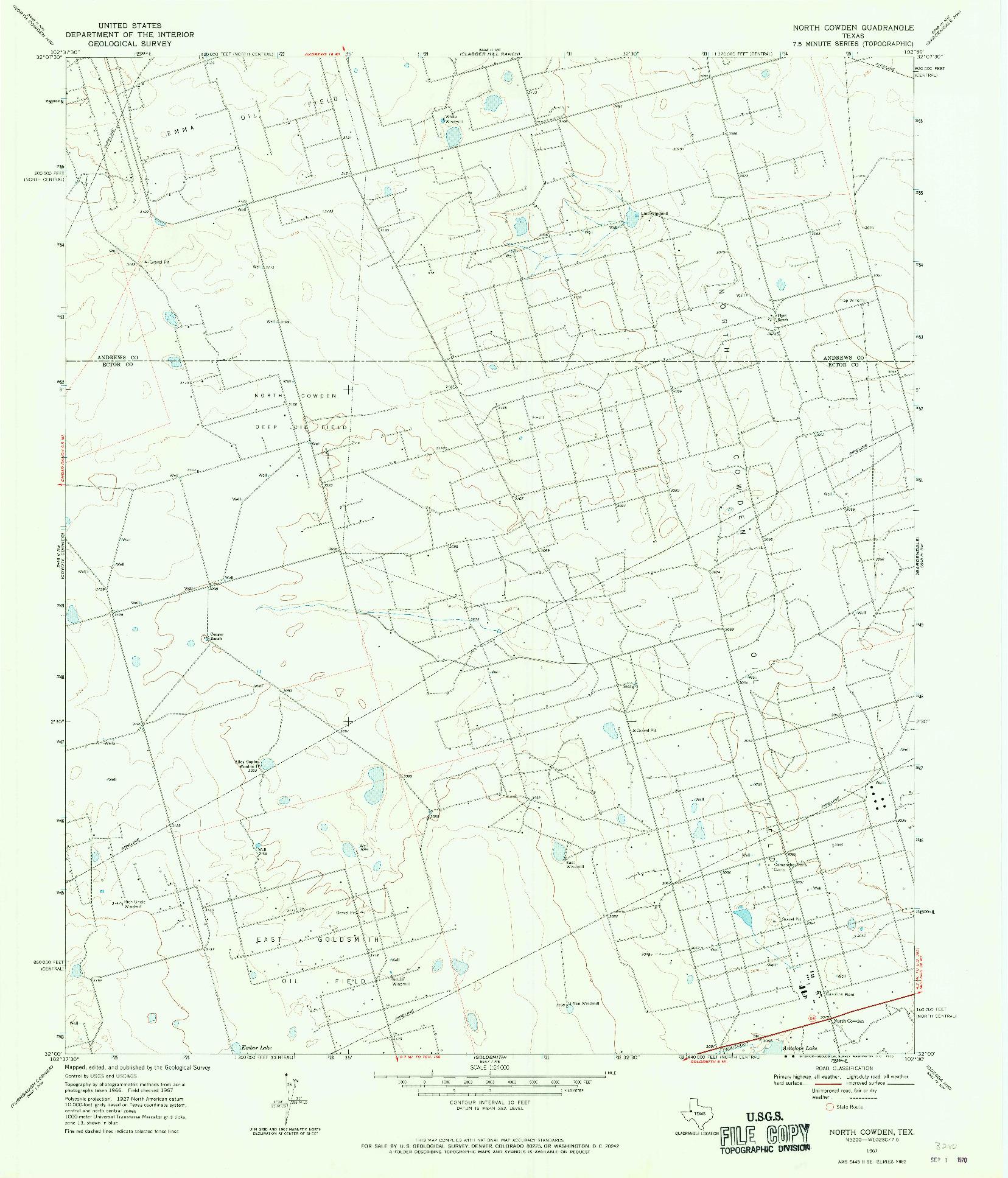 USGS 1:24000-SCALE QUADRANGLE FOR NORTH COWDEN, TX 1967