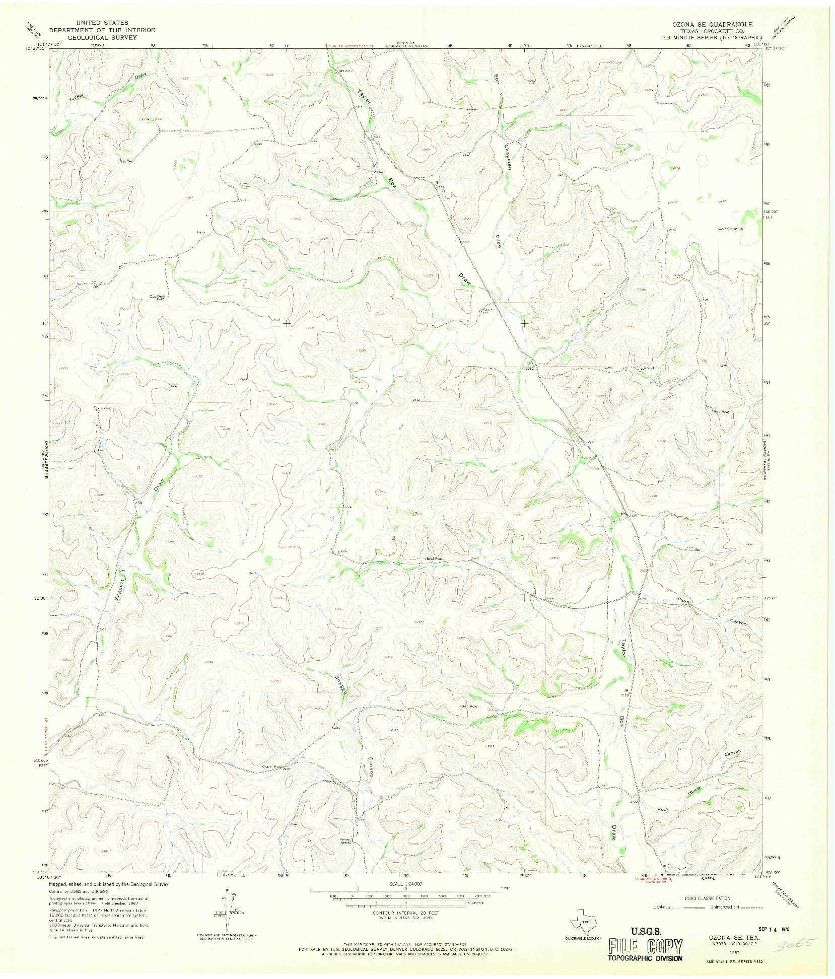 USGS 1:24000-SCALE QUADRANGLE FOR OZONA SE, TX 1967
