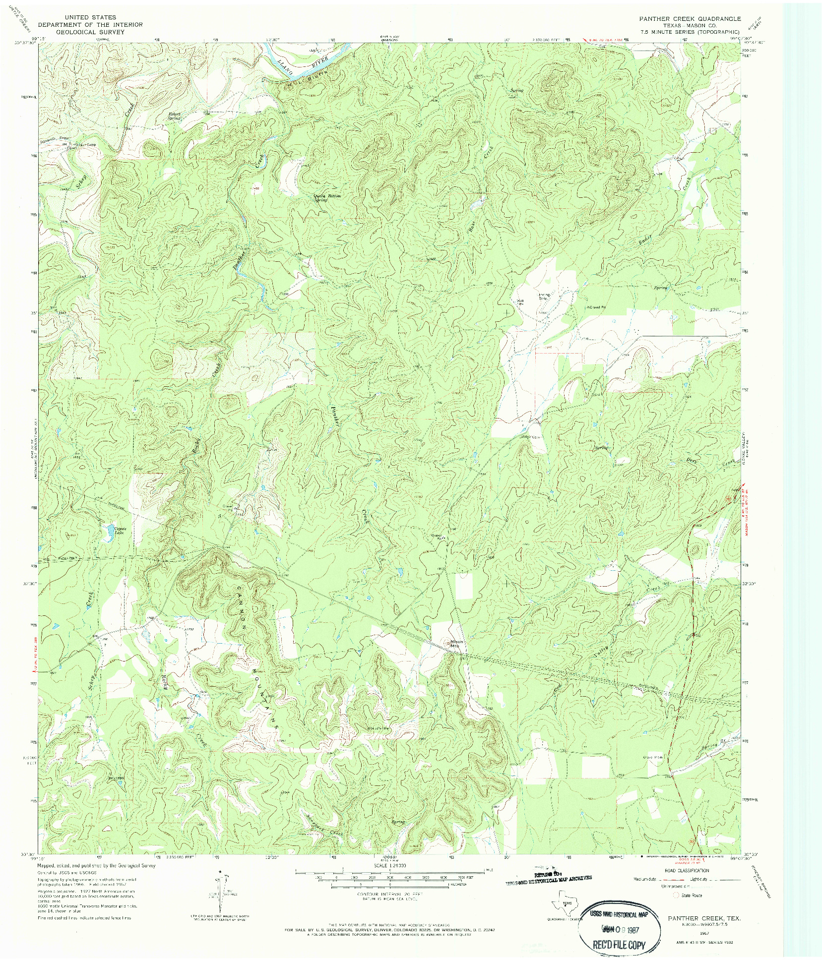 USGS 1:24000-SCALE QUADRANGLE FOR PANTHER CREEK, TX 1967