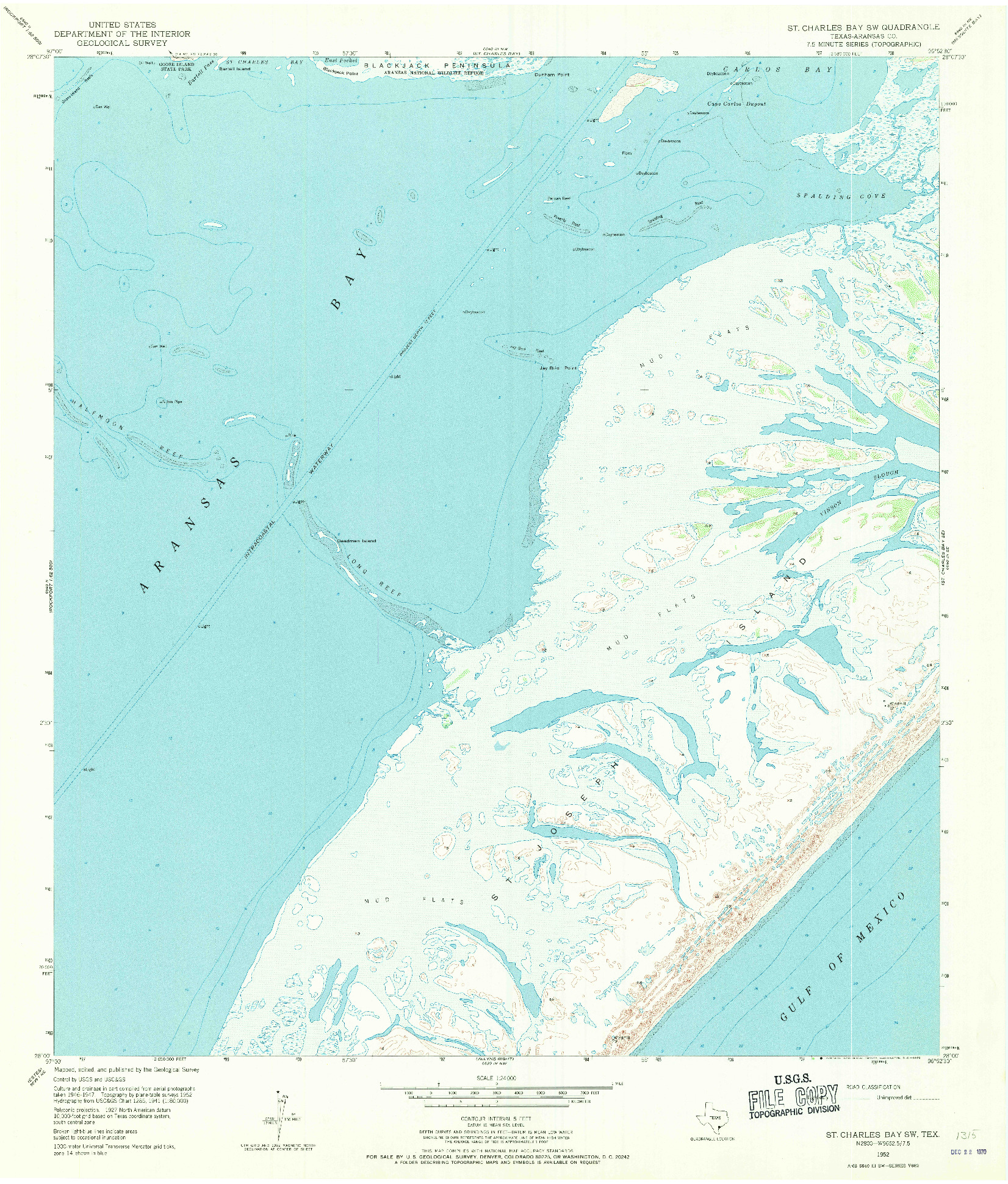 USGS 1:24000-SCALE QUADRANGLE FOR ST. CHARLES BAY SW, TX 1952