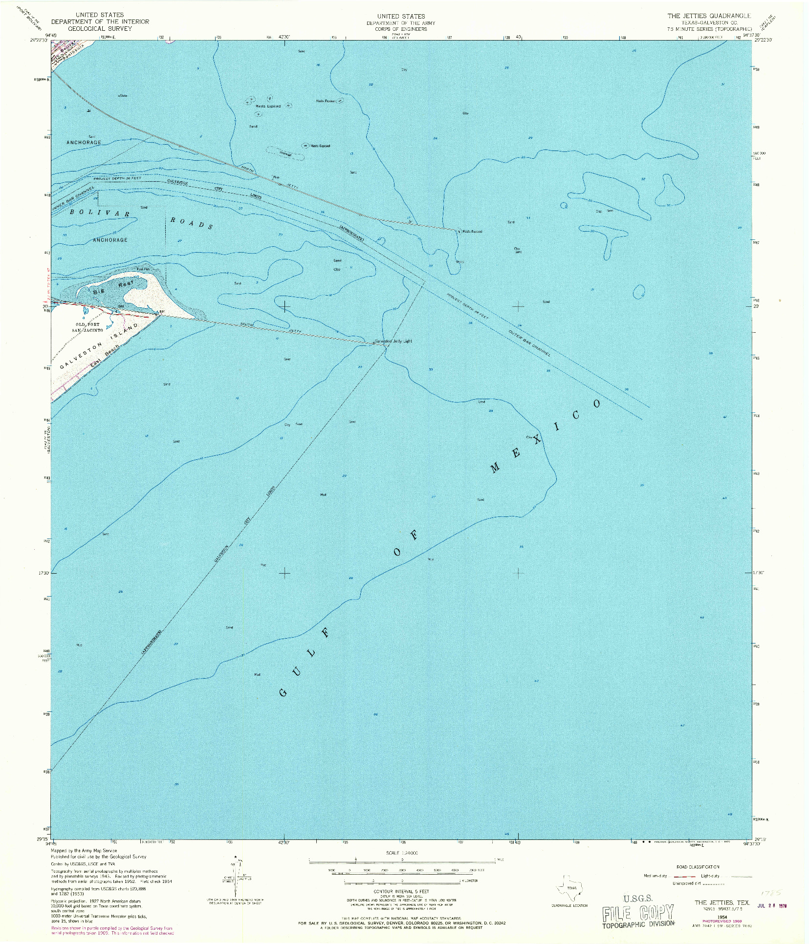 USGS 1:24000-SCALE QUADRANGLE FOR THE JETTIES, TX 1954