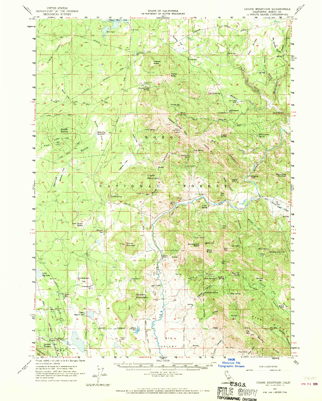 USGS 1:62500-SCALE QUADRANGLE FOR CRANK MOUNTAIN, CA 1962