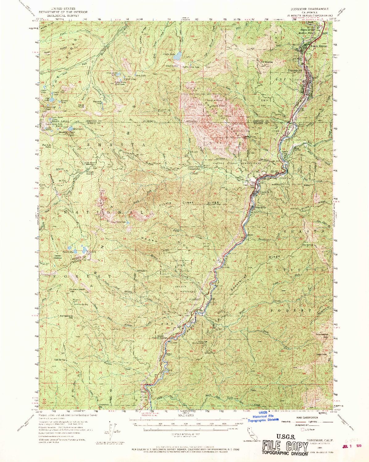 USGS 1:62500-SCALE QUADRANGLE FOR DUNSMUIR, CA 1954