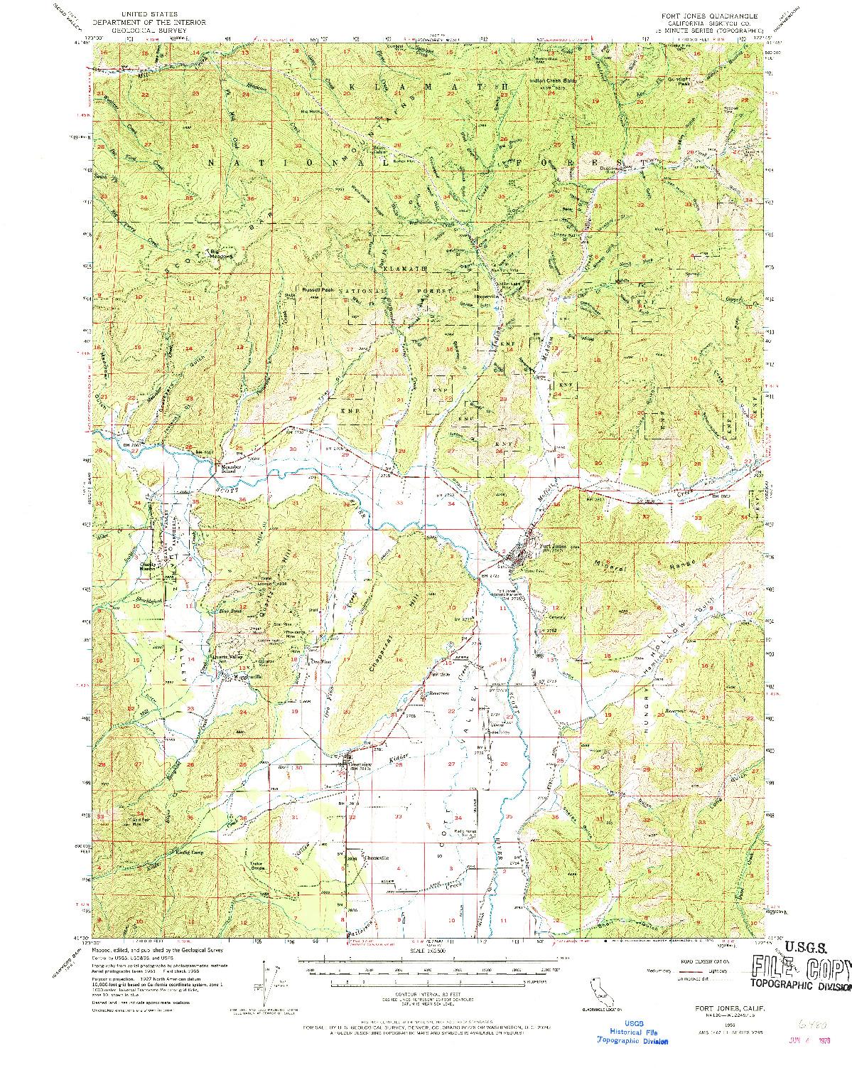USGS 1:62500-SCALE QUADRANGLE FOR FORT JONES, CA 1955