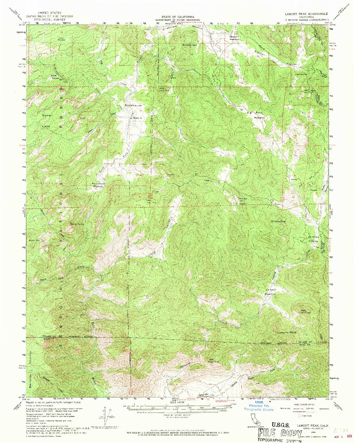 USGS 1:62500-SCALE QUADRANGLE FOR LAMONT PEAK, CA 1956