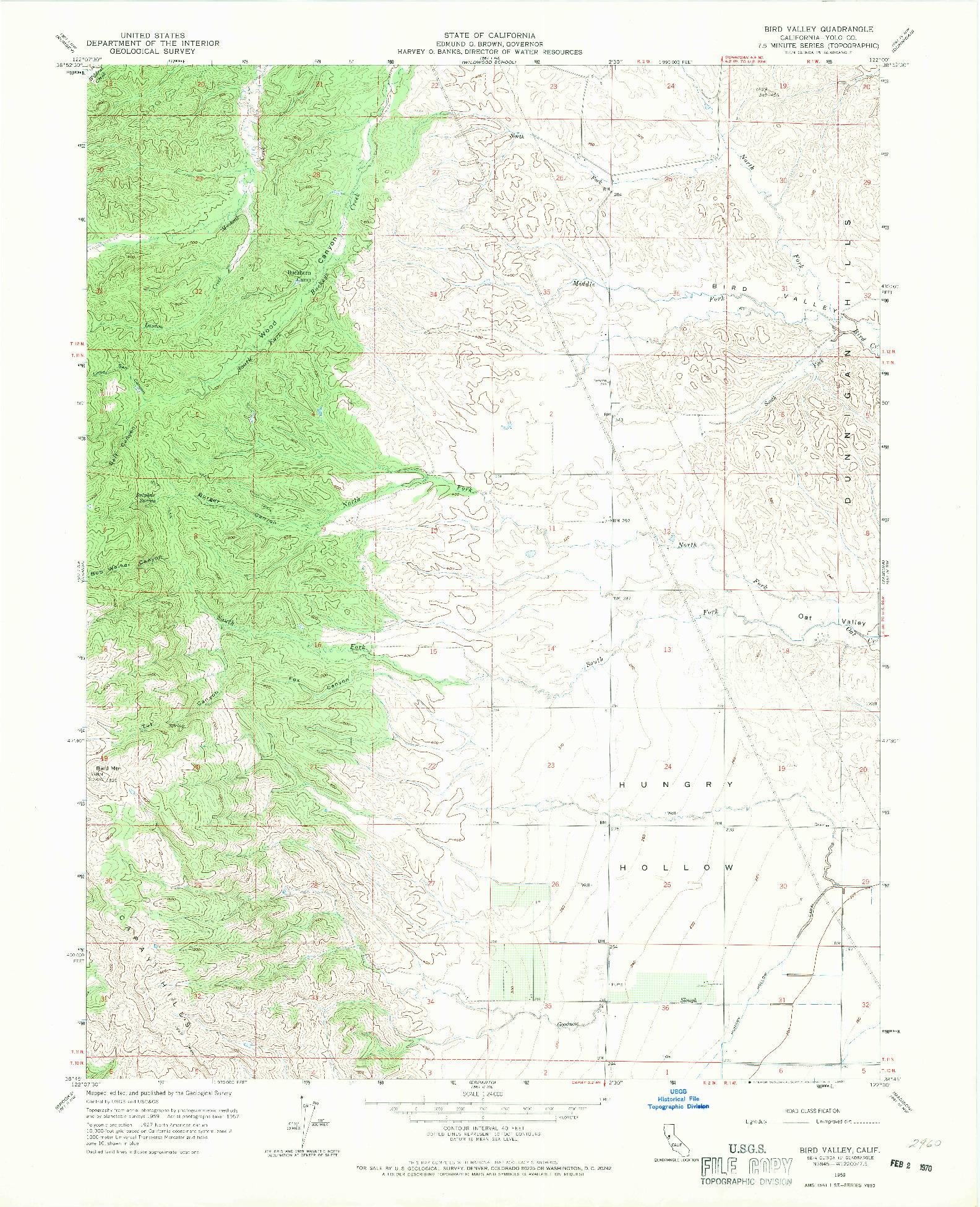 USGS 1:24000-SCALE QUADRANGLE FOR BIRD VALLEY, CA 1959
